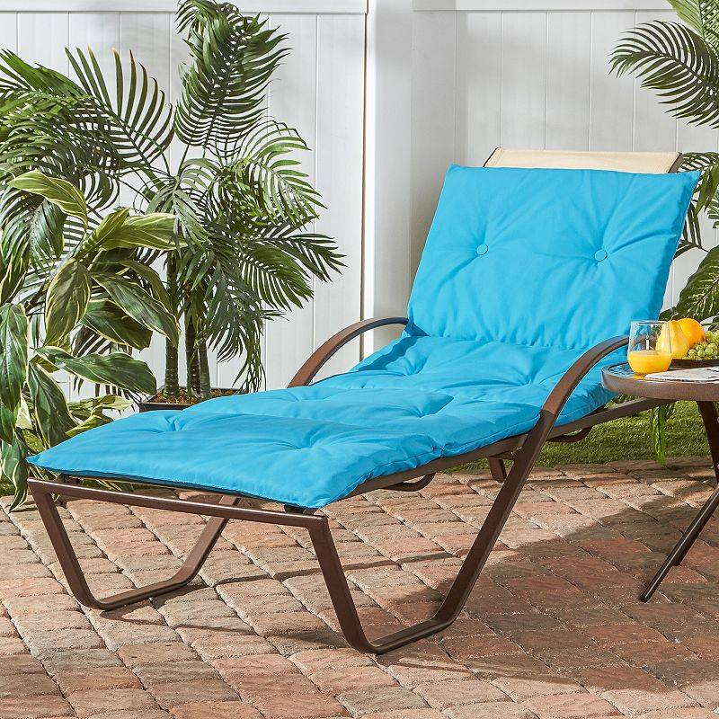 Greendale Home Fashions Four-Section Indoor Outdoor Reversible Chaise Lounge Cushion, Turquoise/Blue, CHAISECUSH