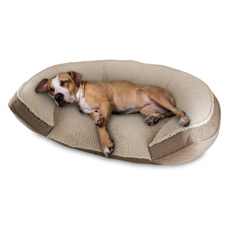 Canine Creations Arlee Home Oval Cuddler Dog Pet Bed, Beig/Green, Large