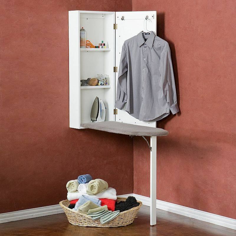 Southern Enterprises Wall-Mounted Ironing Board Cabinet, Adult Unisex, Size: Furniture, White