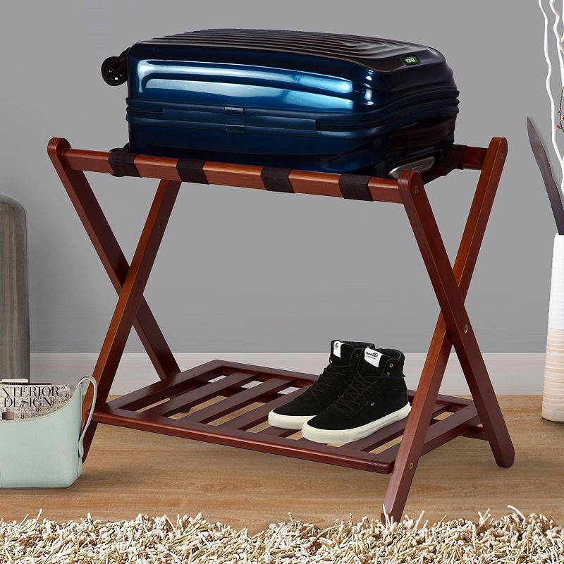Casual Home Shelf Luggage Rack, Brown