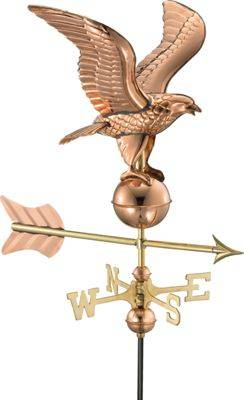 Eagle Good Directions Eagle Polished Copper Weather Vane with Garden Pole