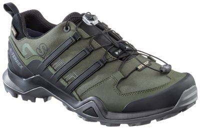 adidas Outdoor Terrex Swift R2 GTX Hiking Shoes for Men - Night/Black/Green - 9M