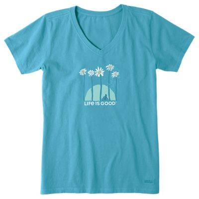 Life is Good Towering Daisies Bike Crusher Short-Sleeve V-Neck Tee for Ladies - Coastal Blue - XS