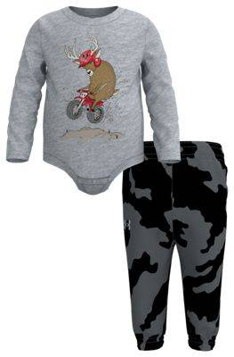 Under Armour Dirt Bike Deer Long-Sleeve Bodysuit and Pants Set for Babies - Mod Gray/Fury Camo - 0-3 Months