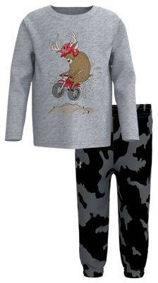 Under Armour Dirt Bike Deer Long-Sleeve T-Shirt and Pants Set for Babies - Mod Gray/Fury Camo - 18 Months