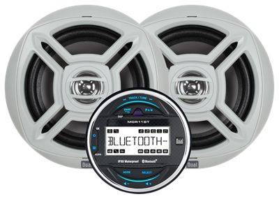 """Dual Marine Round Bluetooth Digital Media Receiver with Two 6.5"""" Speakers"""