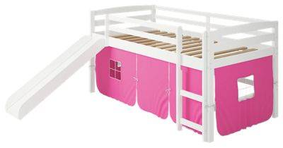 Chelsea Home Furniture Danny Tent White Loft Bed with Slide and Ladder - Pink
