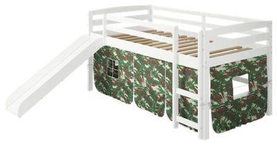 Chelsea Home Furniture Danny Tent White Loft Bed with Slide and Ladder - Camo