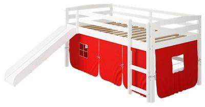 Chelsea Home Furniture Danny Tent White Loft Bed with Slide and Ladder - Red