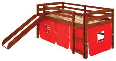 Chelsea Home Furniture Aria Tent Loft Bed with Slide and Ladder - Red