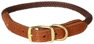 Big Cedar Home Premium Leather and Rope Dog Collar - X Large