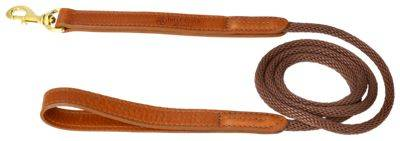 Big Cedar Home Premium Leather and Rope Dog Leash - 4'