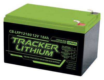 Tracker 12V Lithium Ion Phosphate Accessory Battery - 18AH