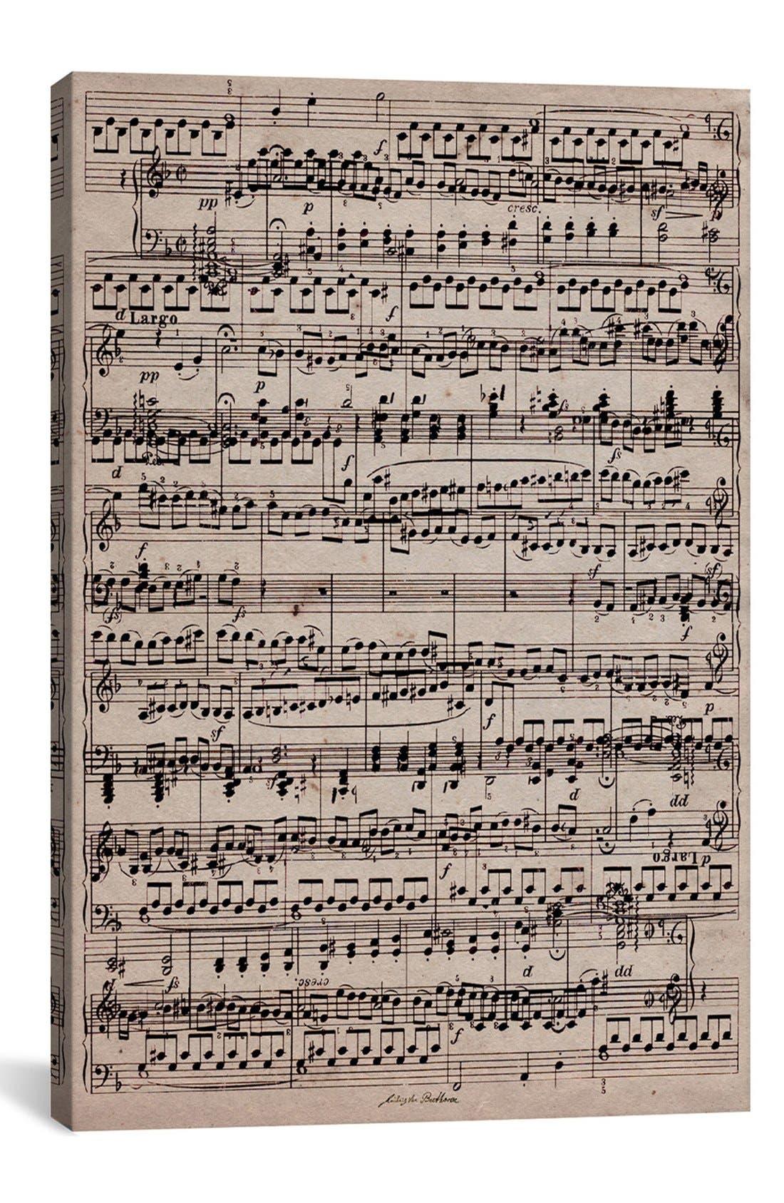 Icanvas 'Sheet Music' Giclee Print Canvas Art, Size 26x40 - Beige