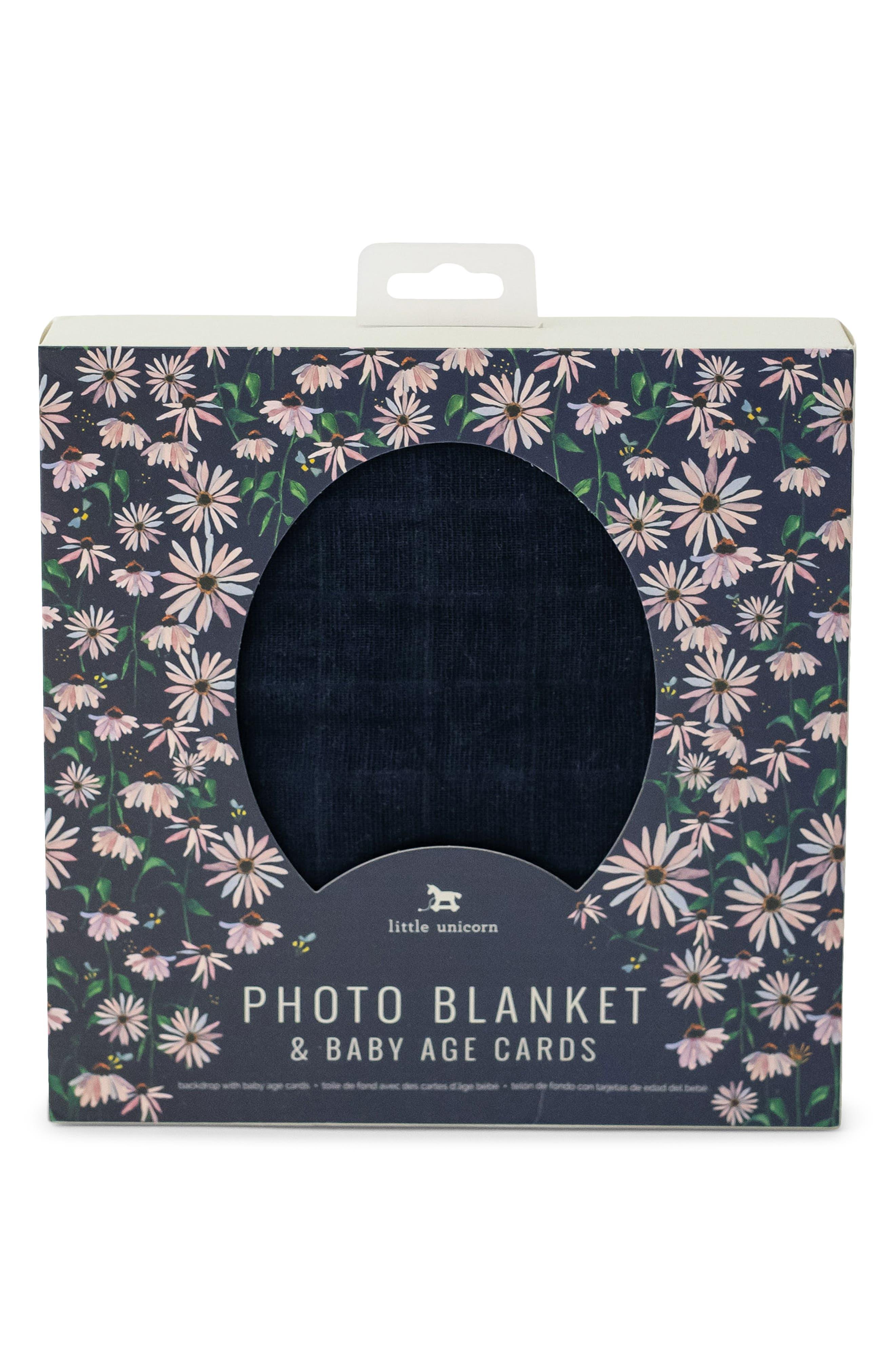 Little Unicorn Photo Blanket & Age Cards Kit, Size One Size - Blue