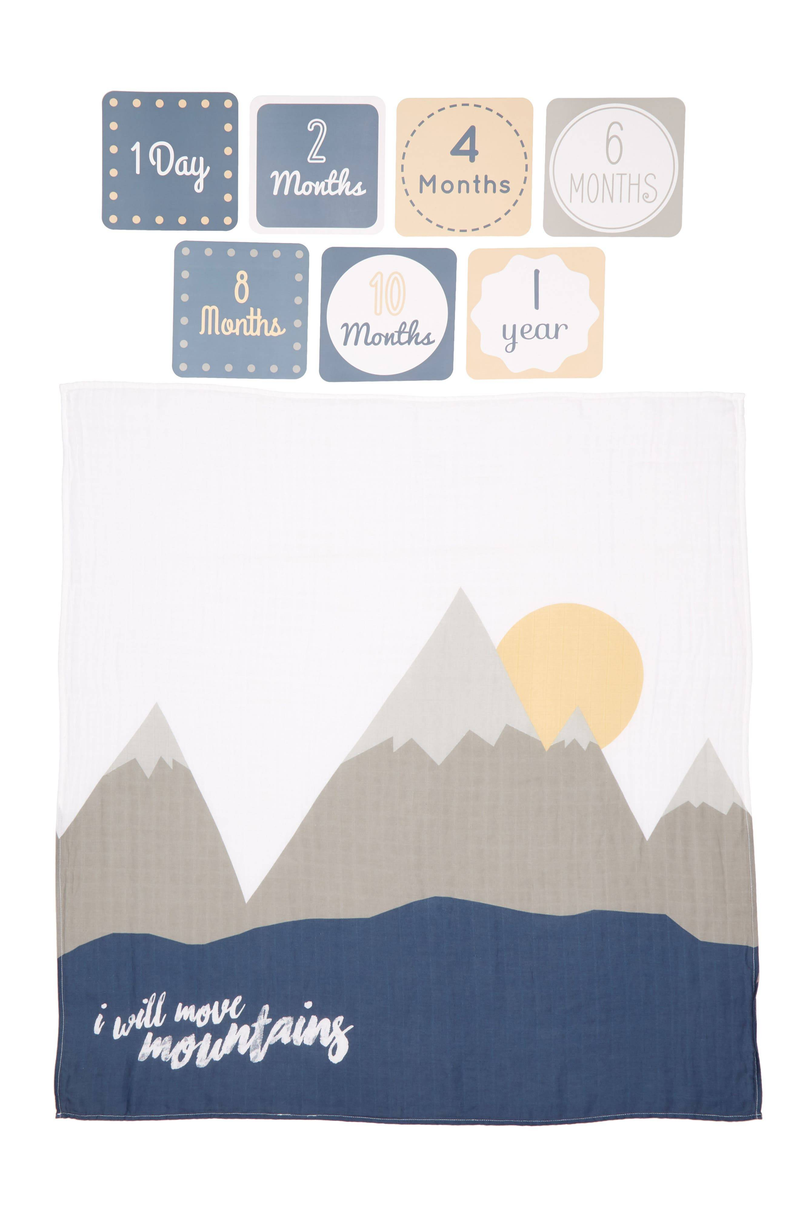 Lulujo Baby's First Year - I Will Move Mountains Muslin Blanket & Milestone Card Set, Size One Size - Grey