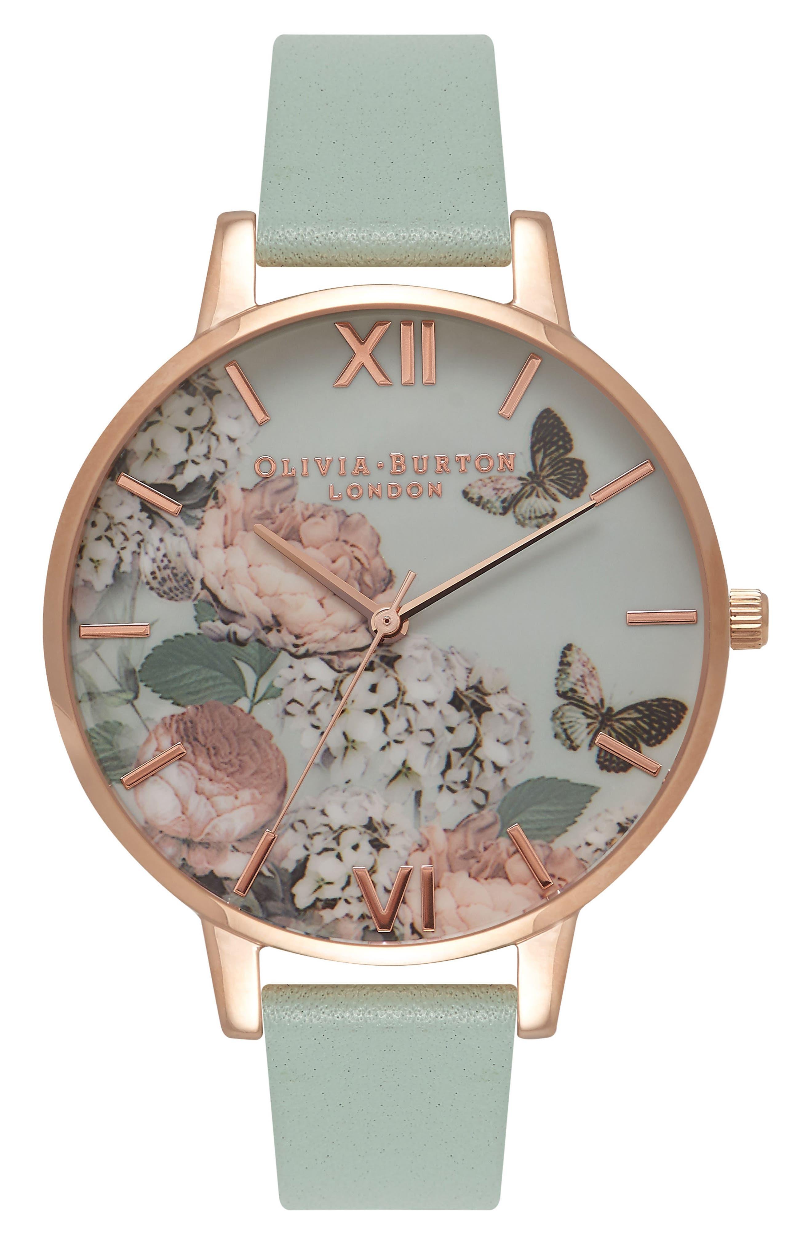 Olivia Burton Women's Olivia Burton Enchanted Garden Leather Strap Watch, 38mm