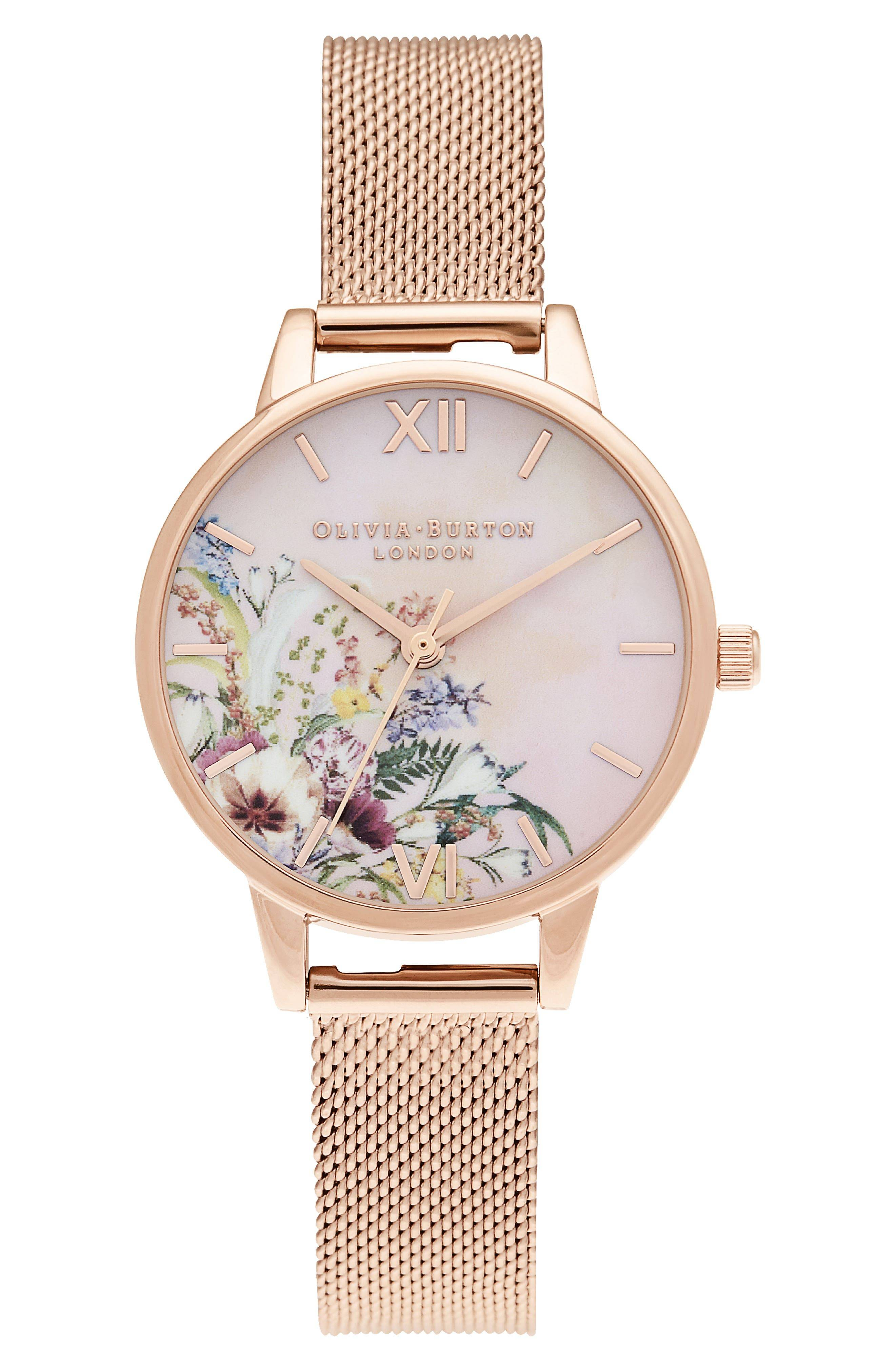 Olivia Burton Women's Olivia Burton Enchanted Garden Mesh Strap Watch, 34mm