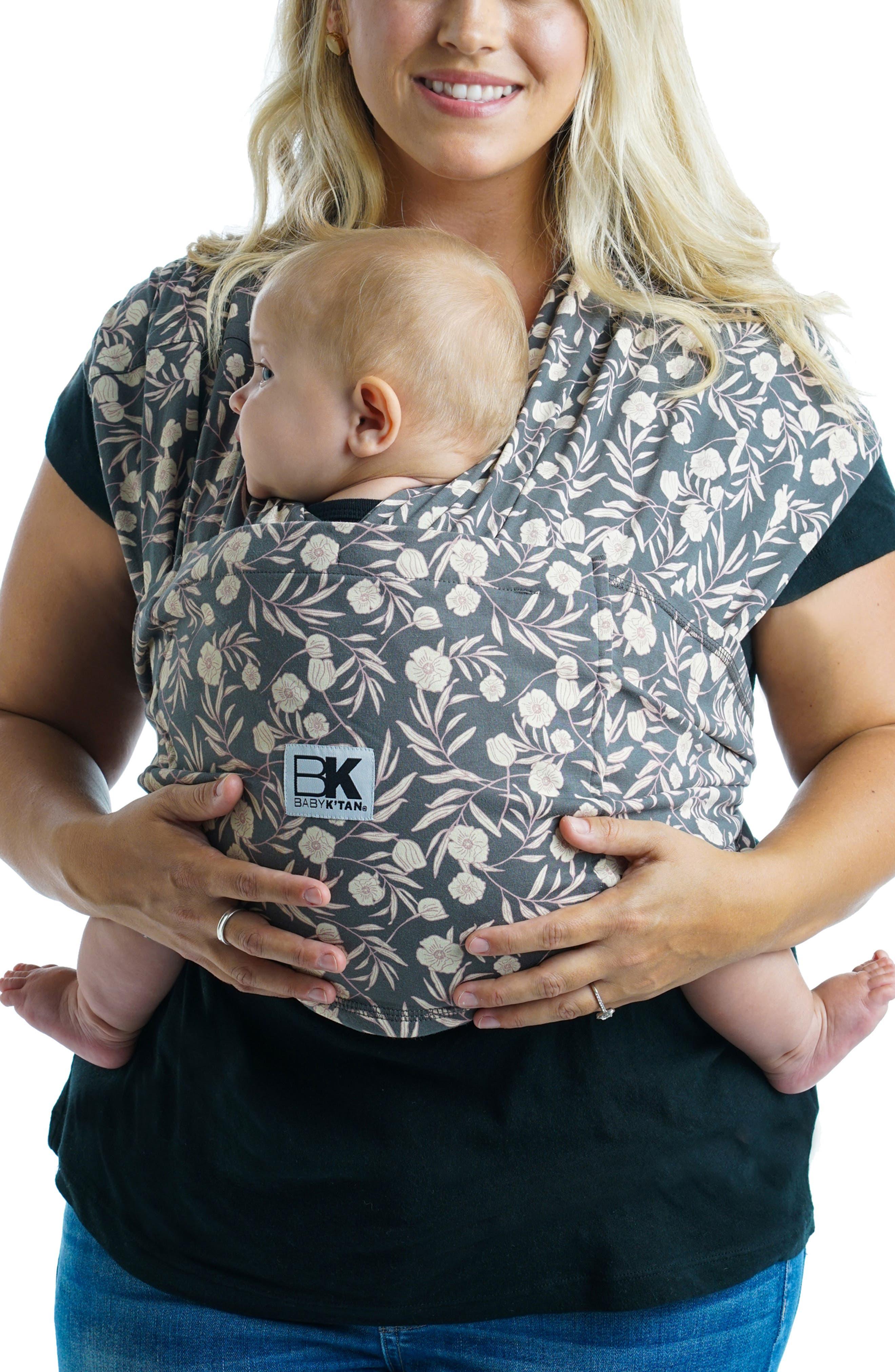 Baby K'Tan Infant Baby K'Tan Original Floral Garden Baby Carrier, Size Medium - Grey