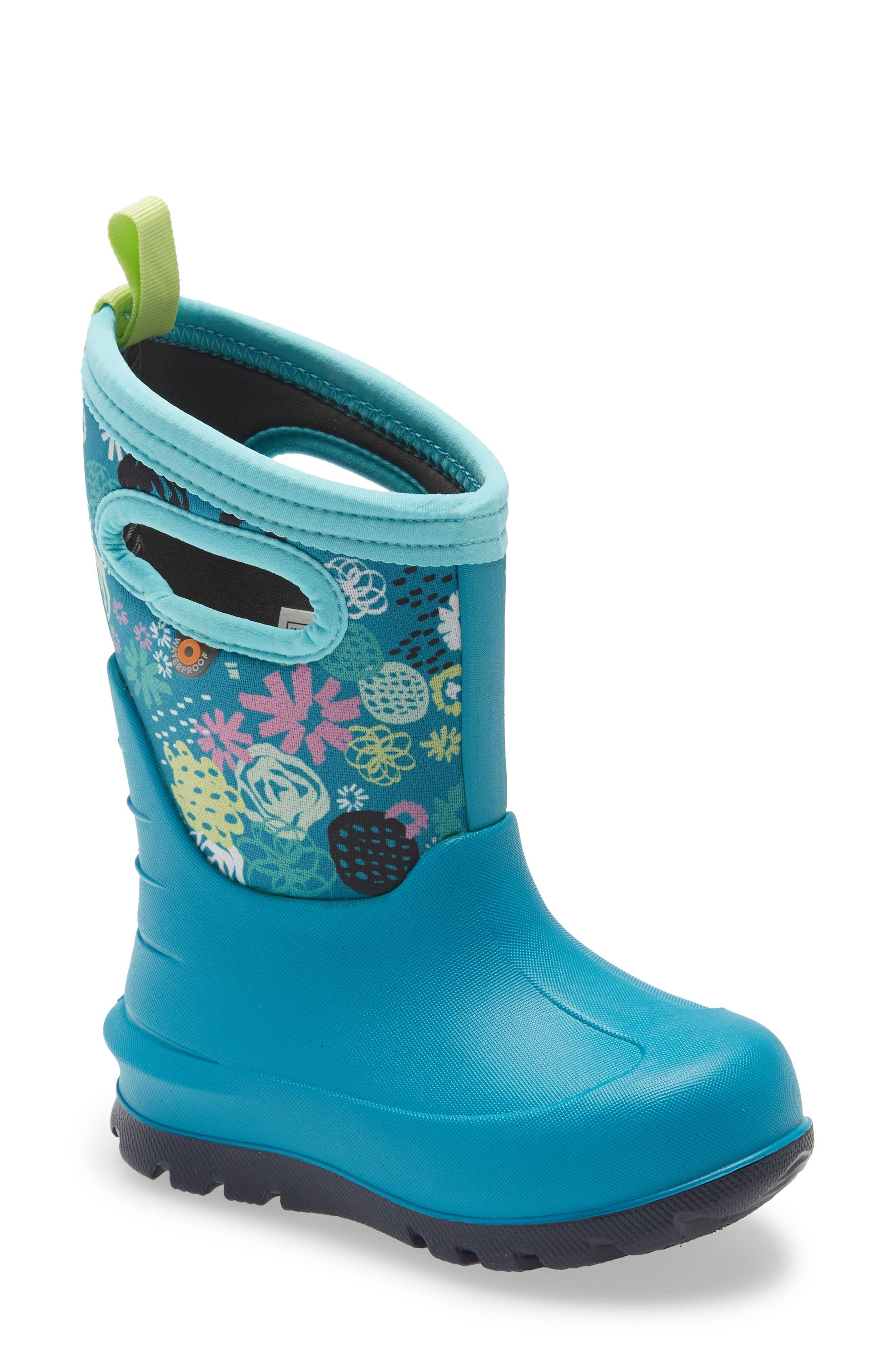 Bogs Girl's Bogs Neo Classic Garden Party Insulated Waterproof Boot, Size 1 M - Blue/green