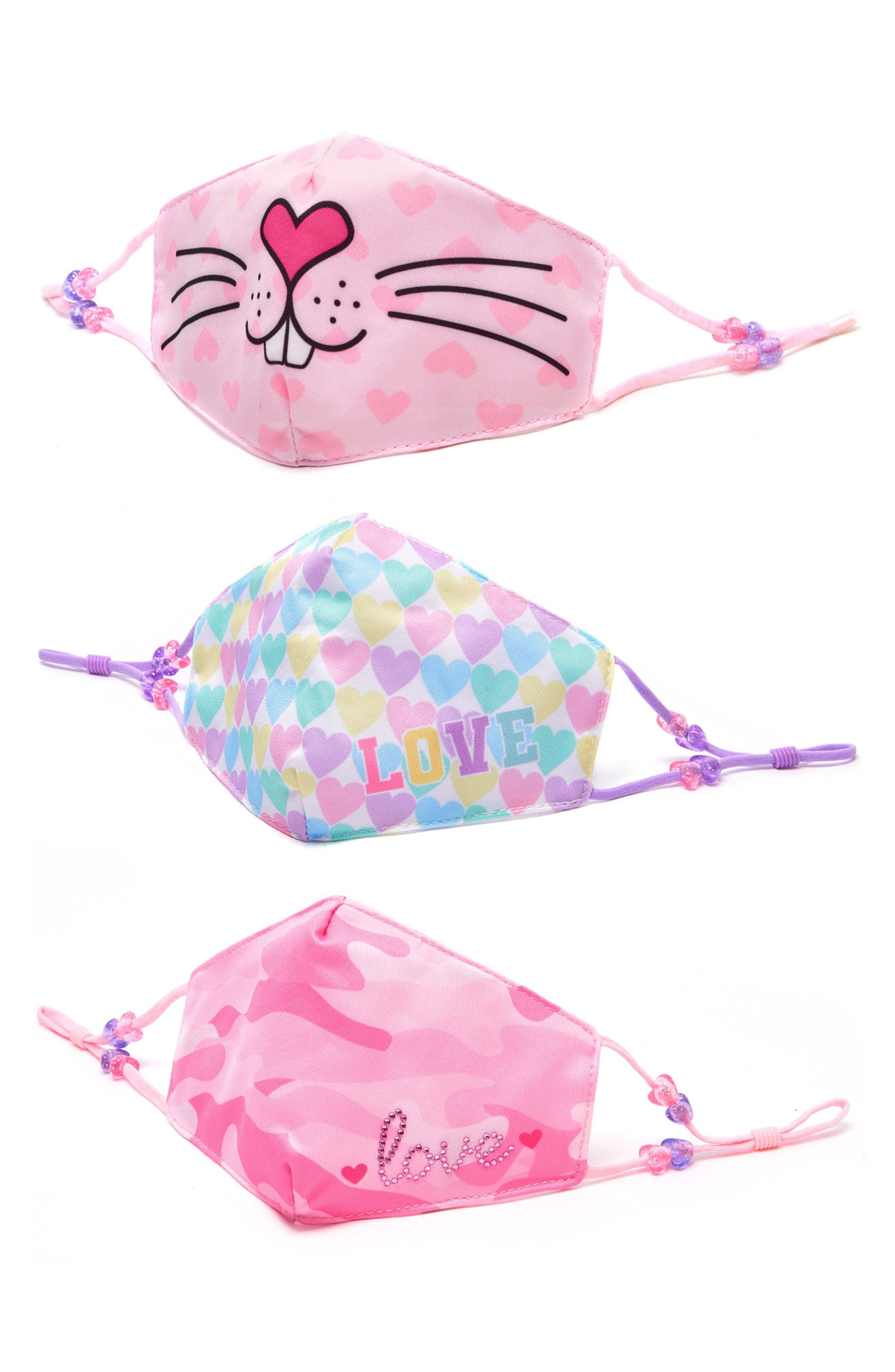 Omg Accessories 3-Pack Bunny Love Kids' Face Masks, Size One Size - Pink