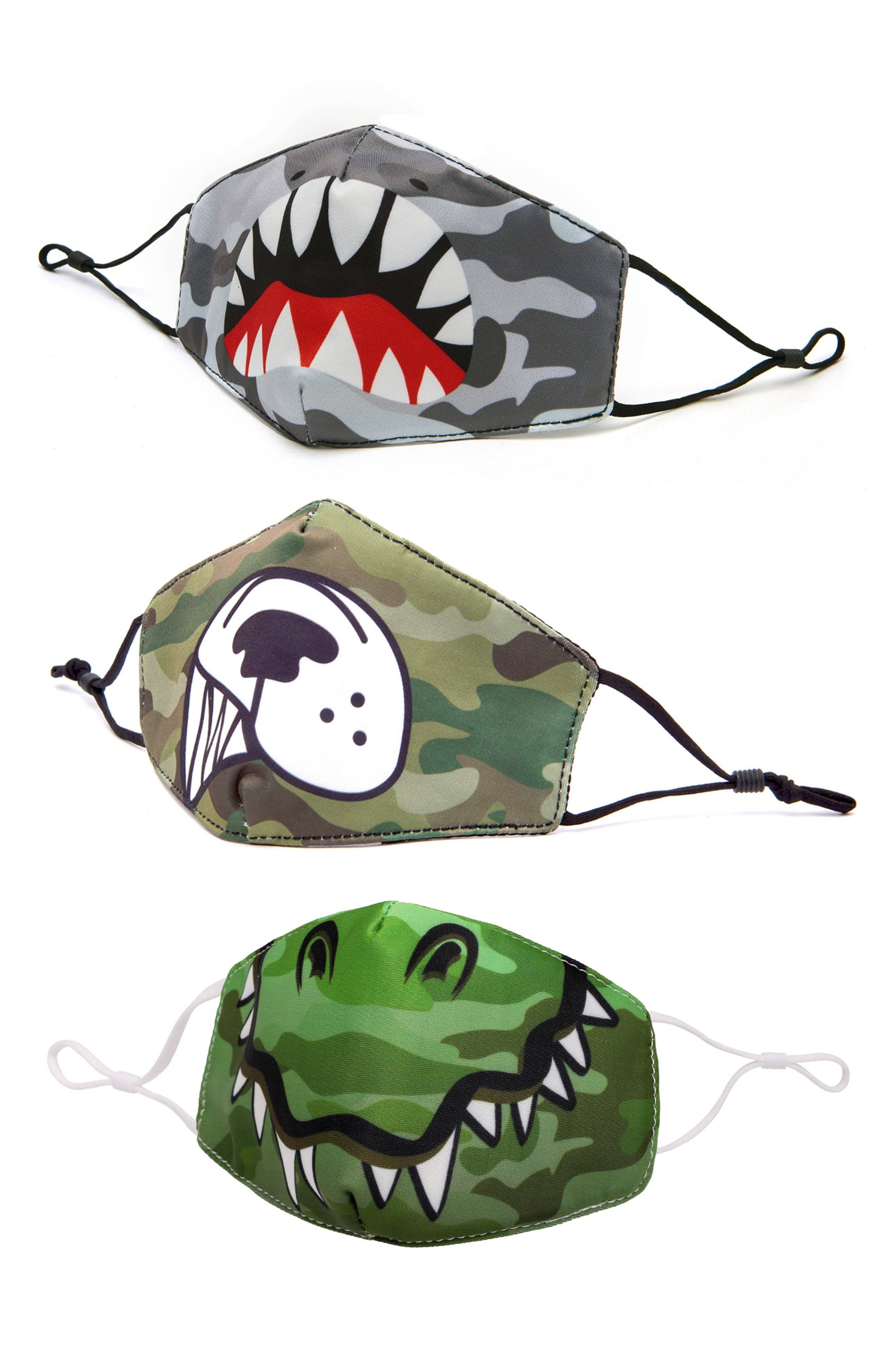 Omg Accessories Animals 3-Pack Kids' Contoured Face Masks, Size One Size - Green