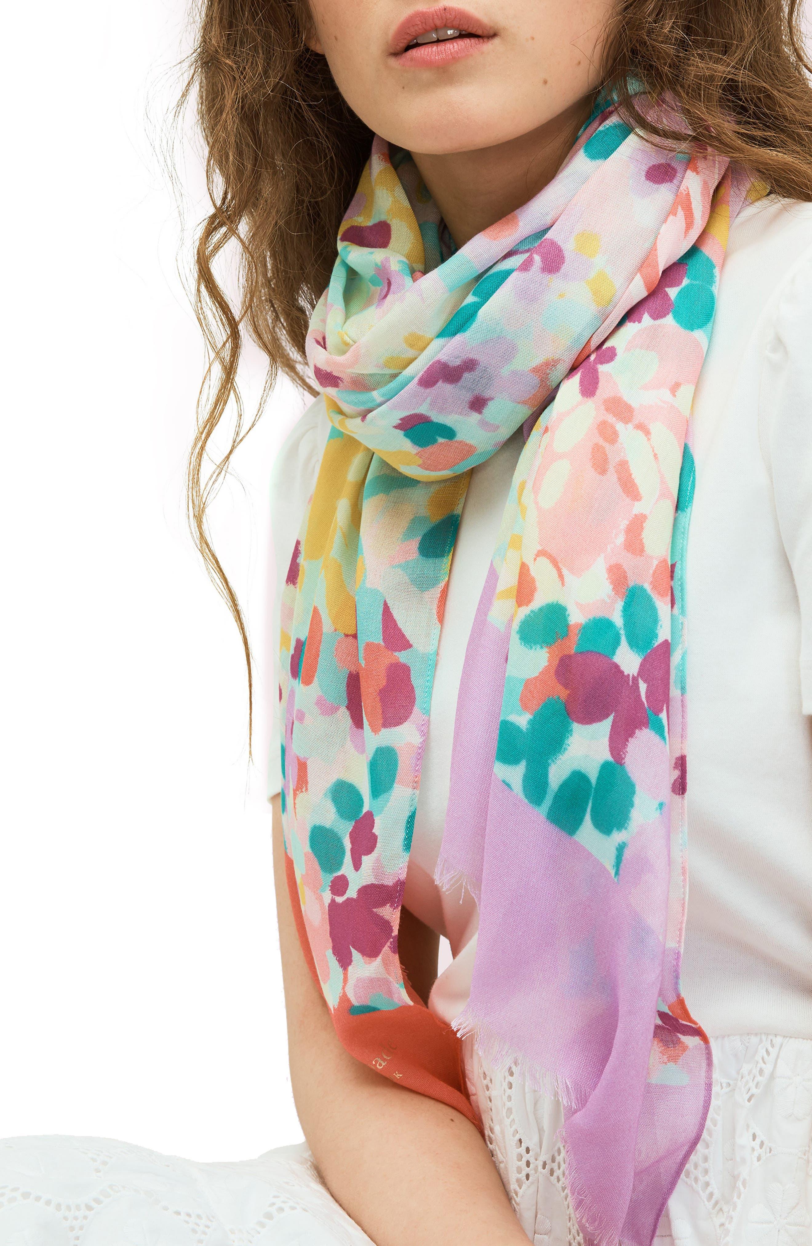kate spade new york Women's Kate Spade New York Watercolor Garden Silk Scarf, Size One Size - Pink