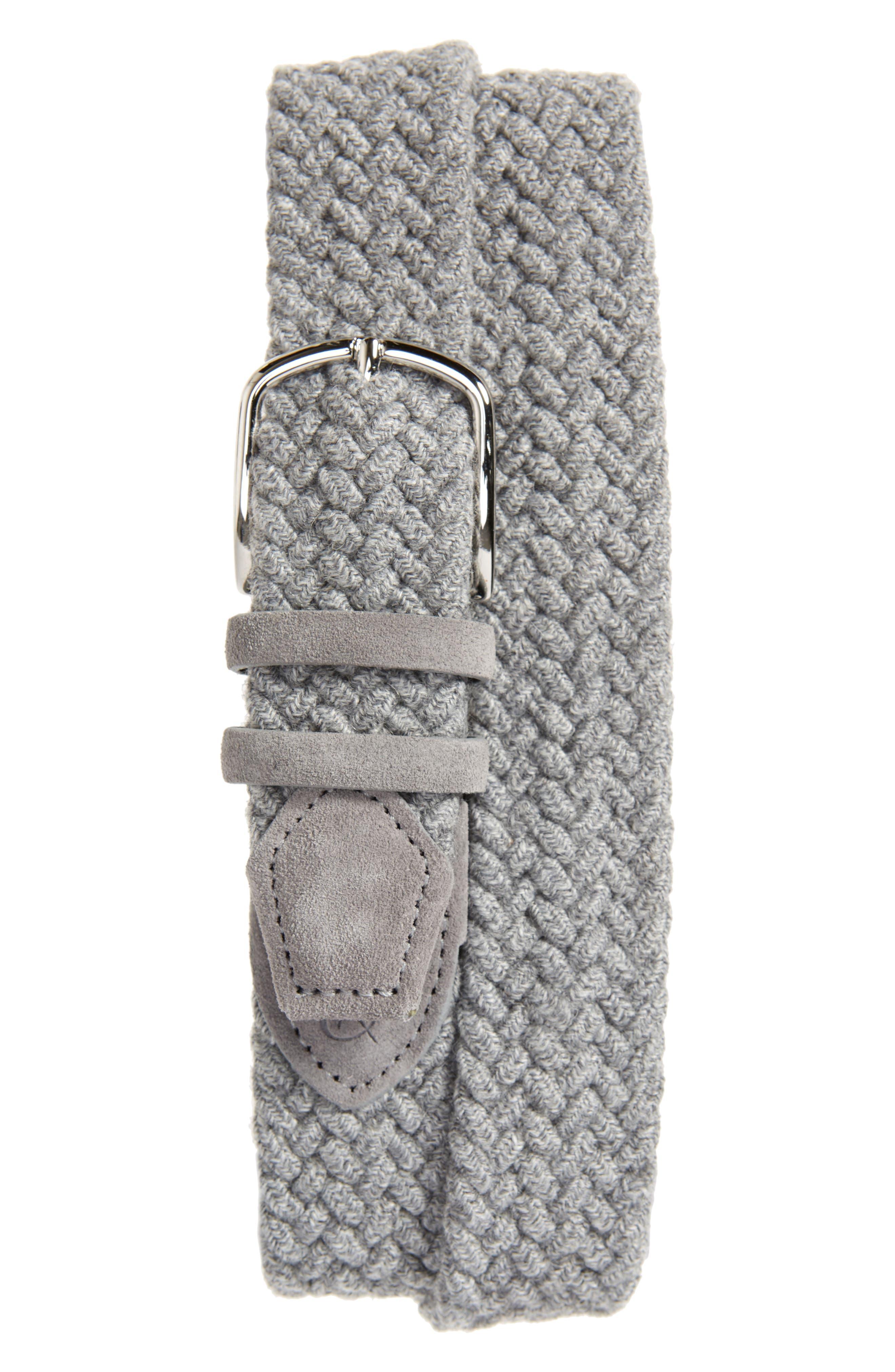 Canali Women's Canali Woven Leather & Wool Blend Belt, Size 32 - Grey