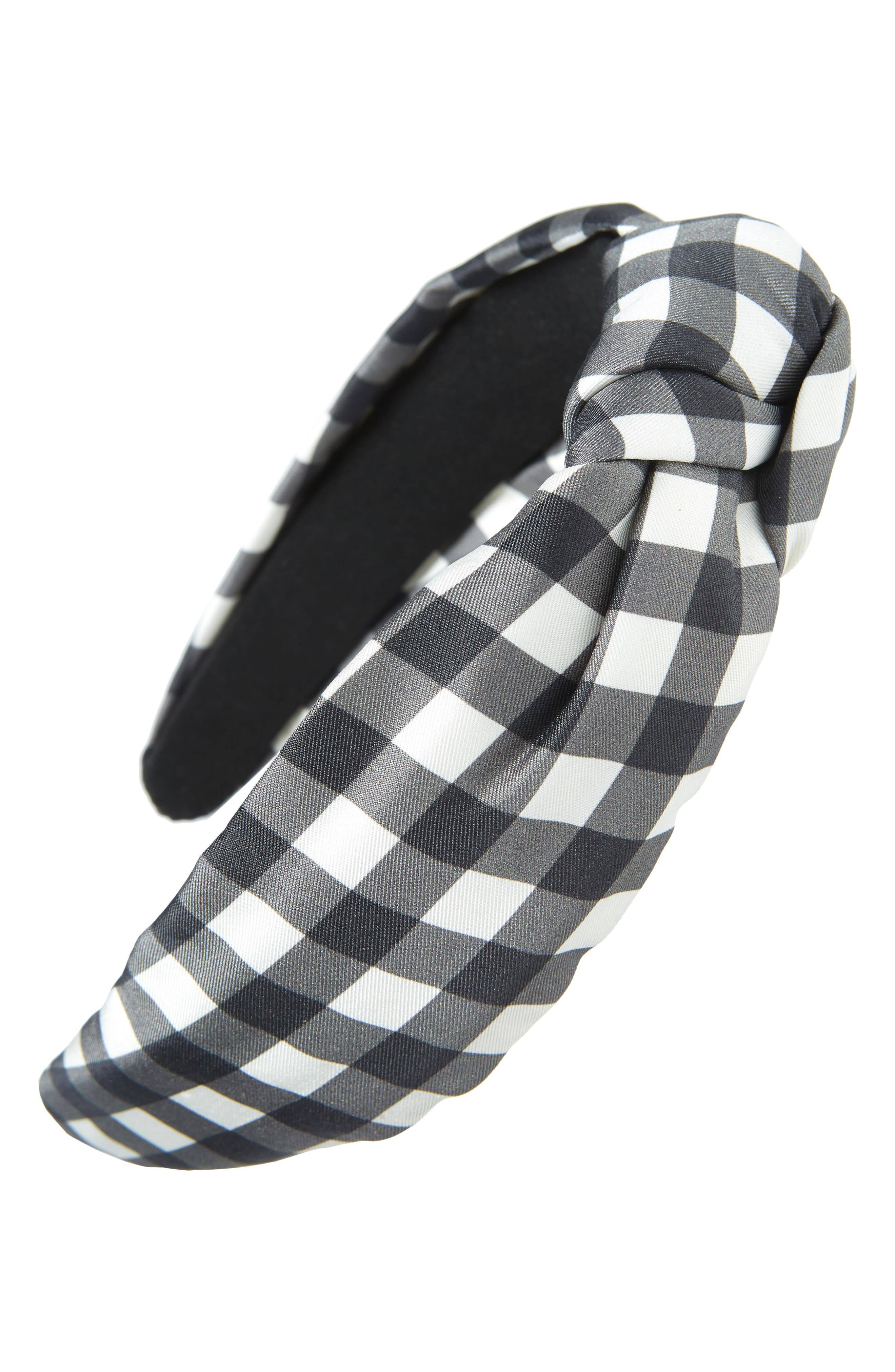 Kate Spade New York Garden Gingham Knotted Silk Headband, Size One Size - Black