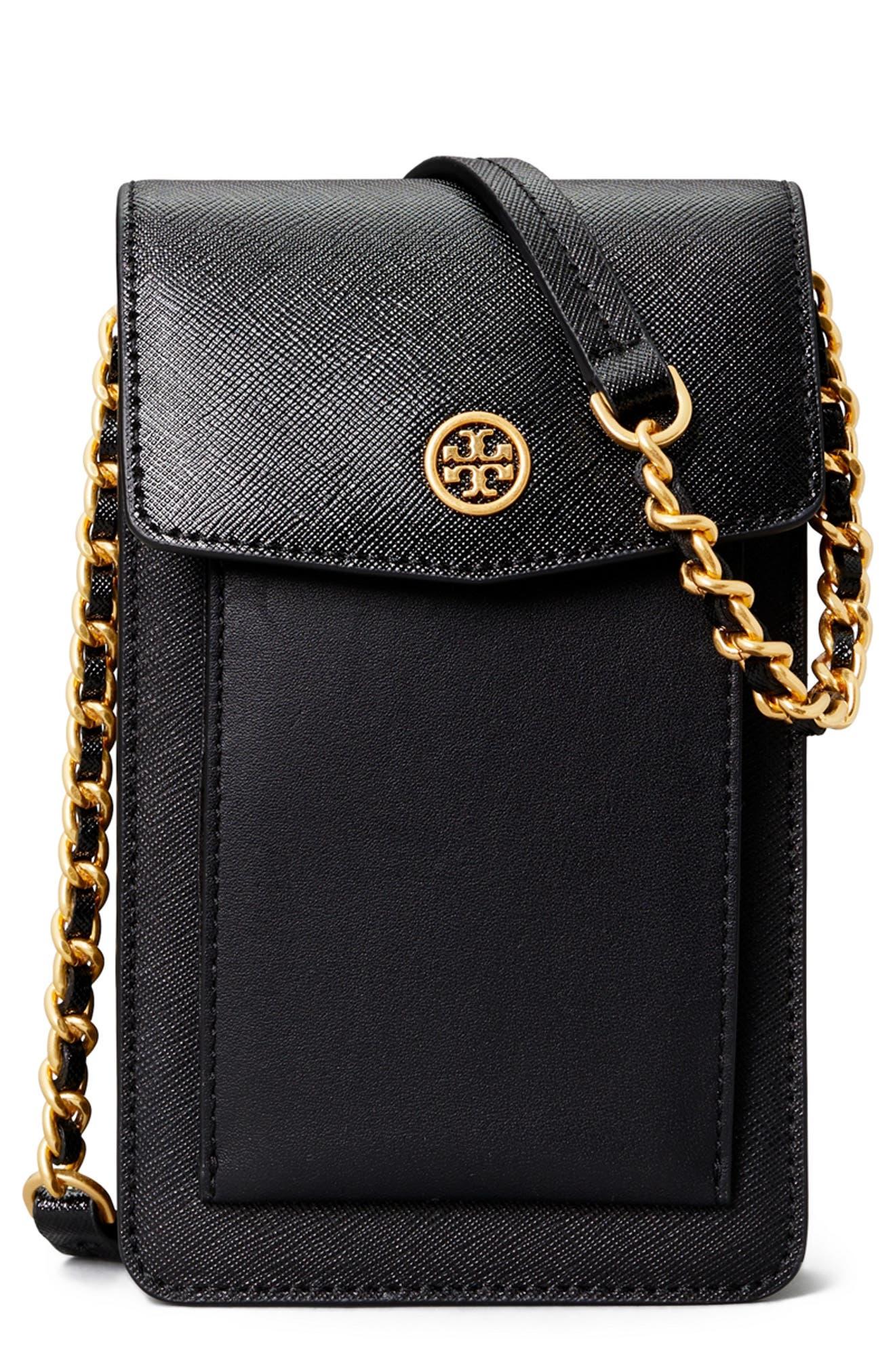 Tory Burch Women's Tory Burch Robinson Mixed Leather Phone Crossbody Bag - Black