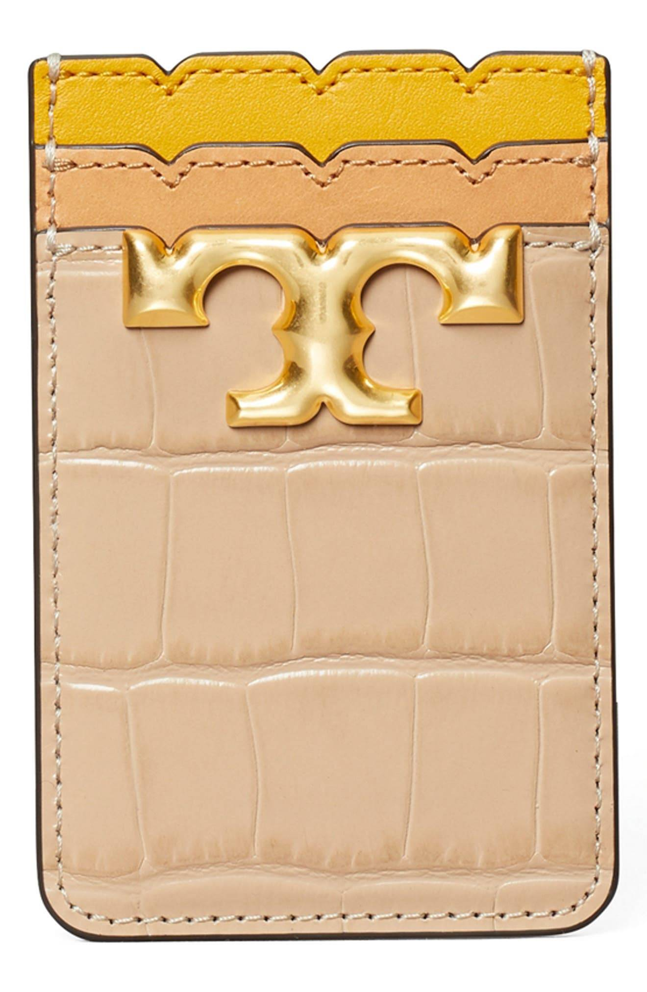 Tory Burch Tory Buch Eleanor Embossed Leather Phone Pocket - Beige