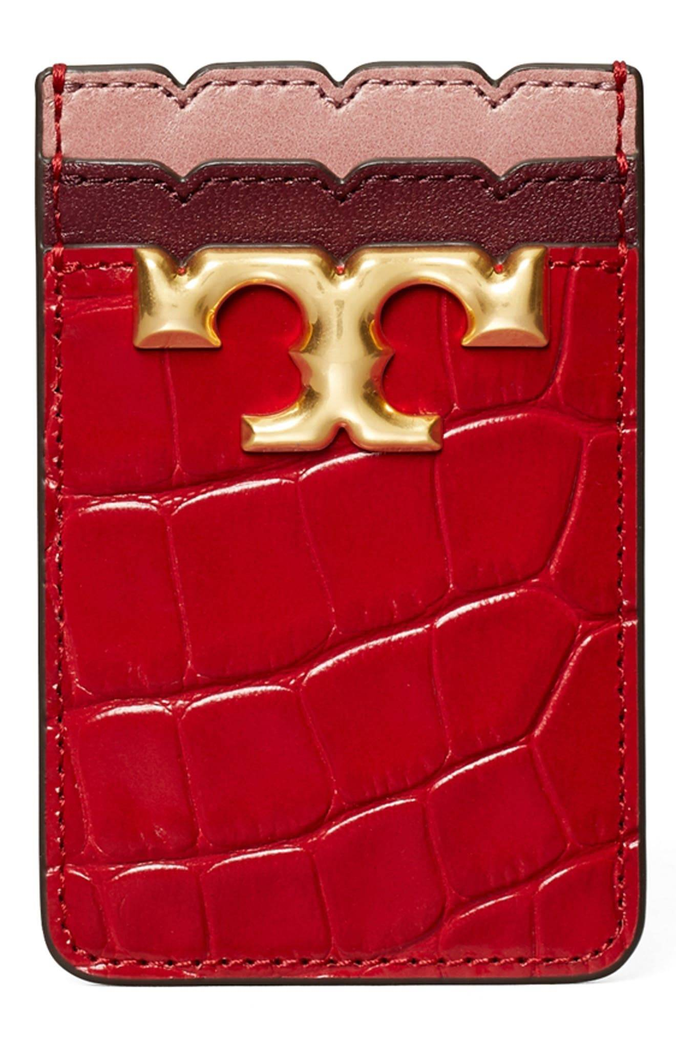 Tory Burch Tory Buch Eleanor Embossed Leather Phone Pocket - Red