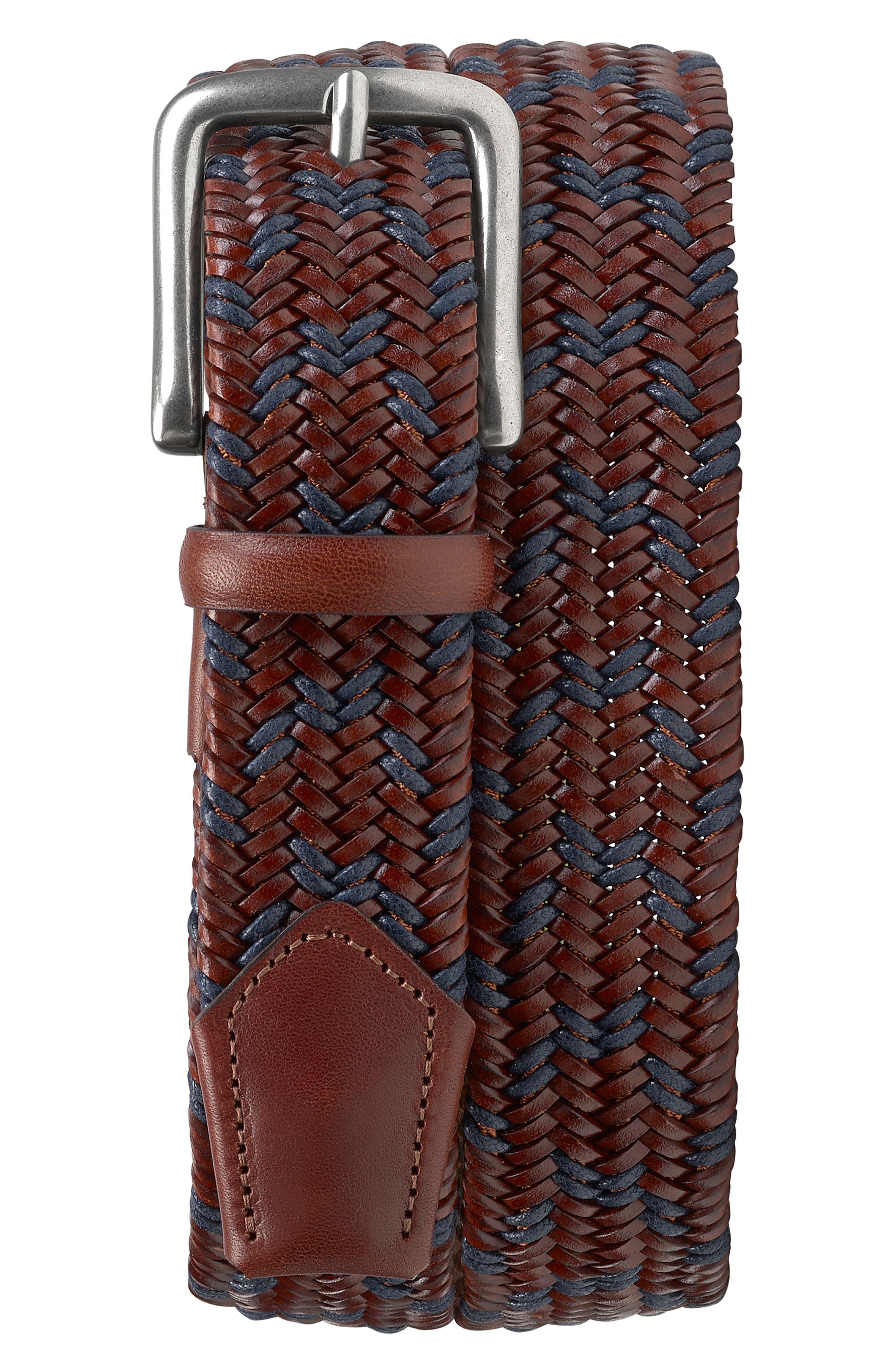 Trask Men's Trask Falcon Woven Belt, Size 36 - Redwood/ Navy