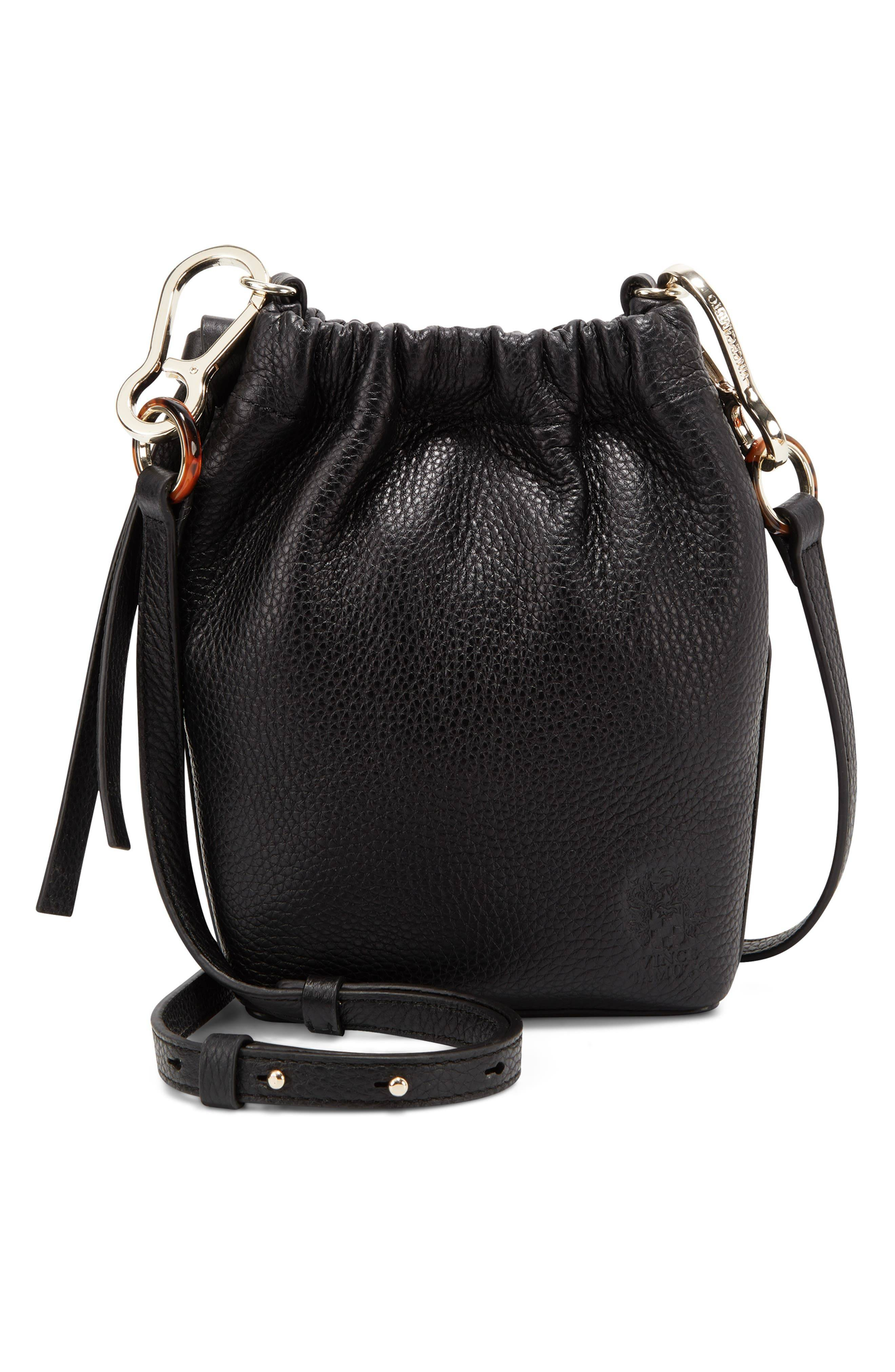 Vince Camuto Drawstring Leather Phone Pouch - Black