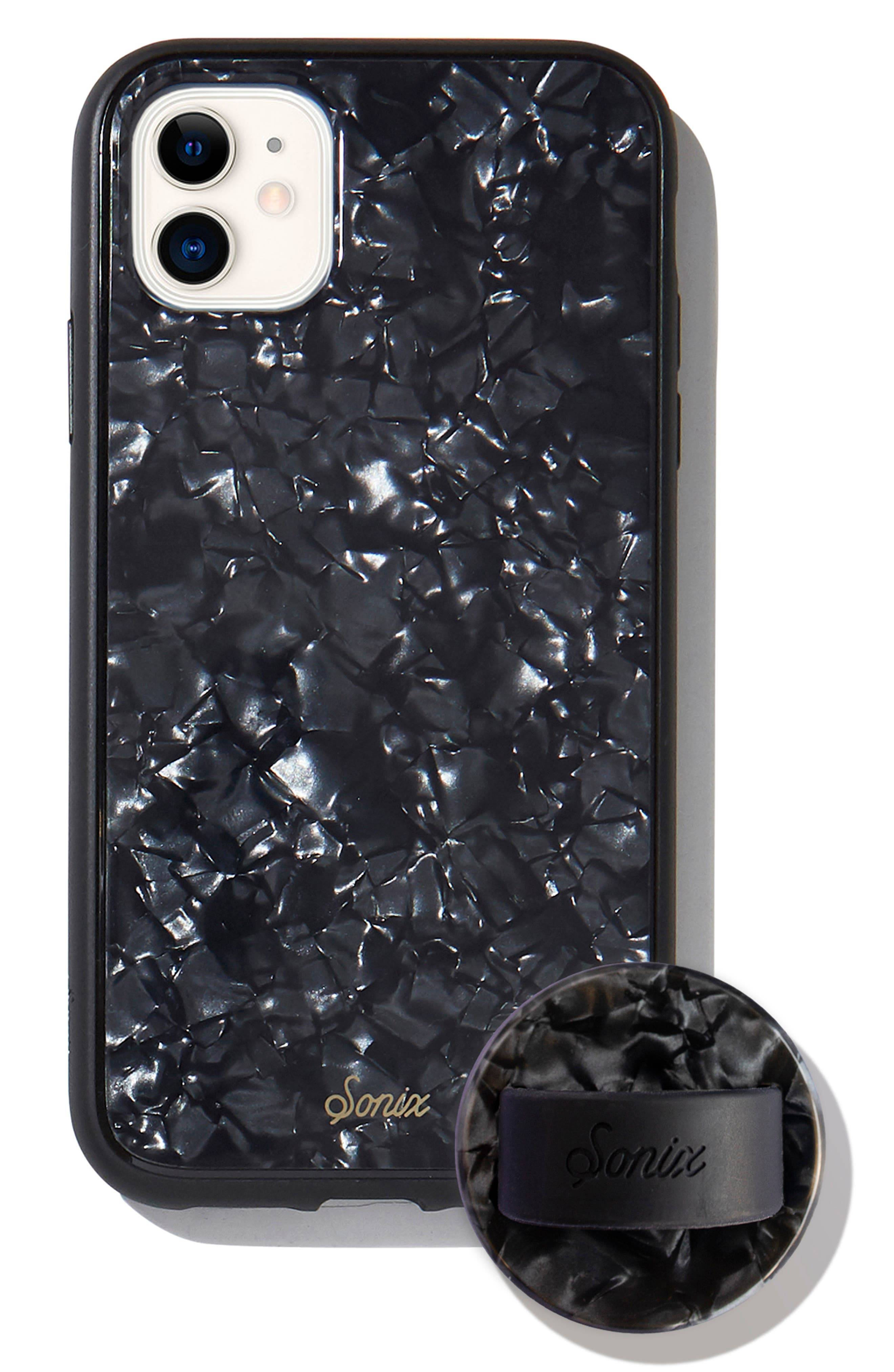 Sonix Black Tort Iphone 11 Case & Slide Silicone Phone Ring - Black