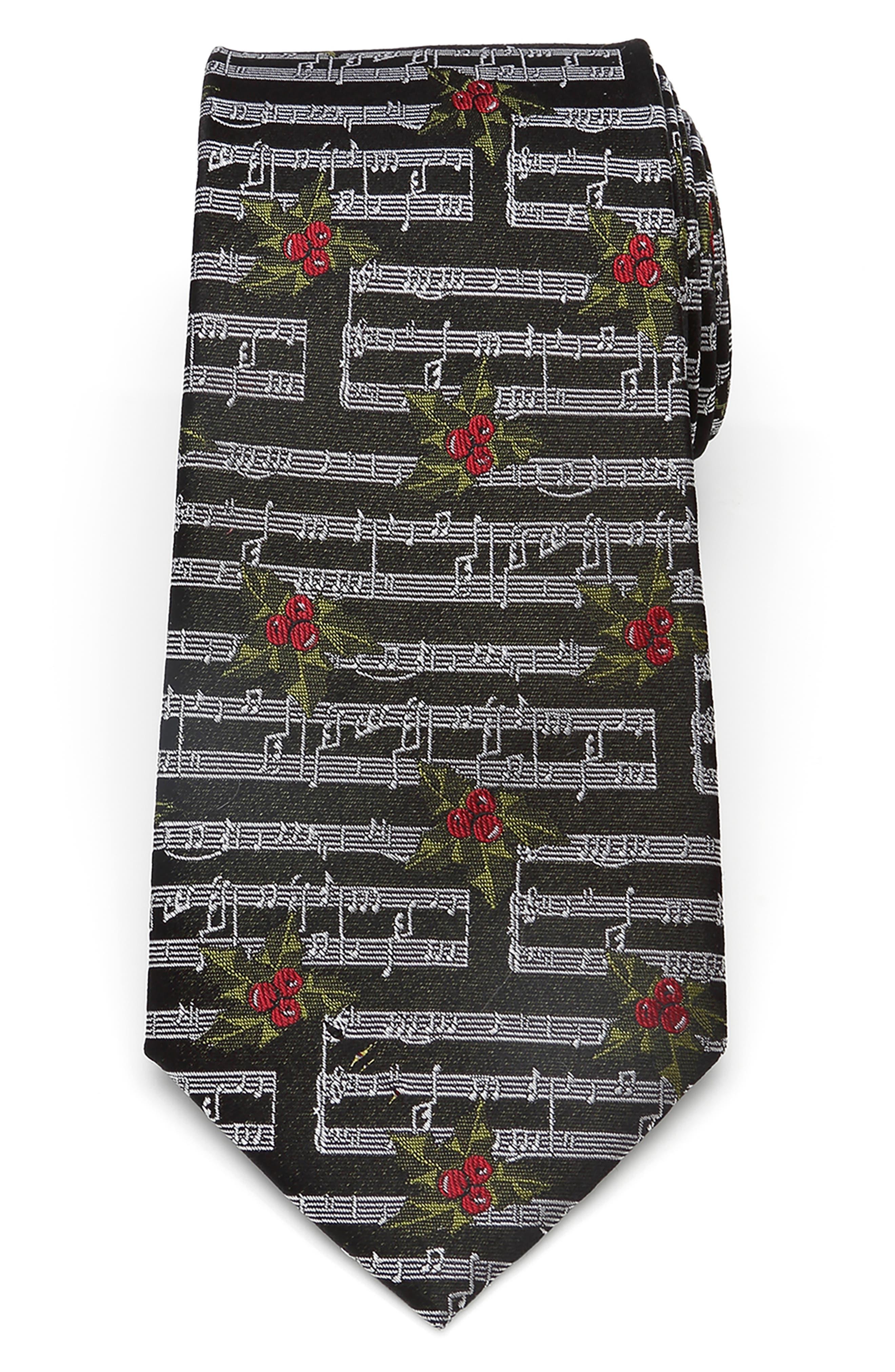 Cufflinks, Inc. Men's Cufflinks, Inc. Holly Music Note Silk Tie, Size One Size - Black
