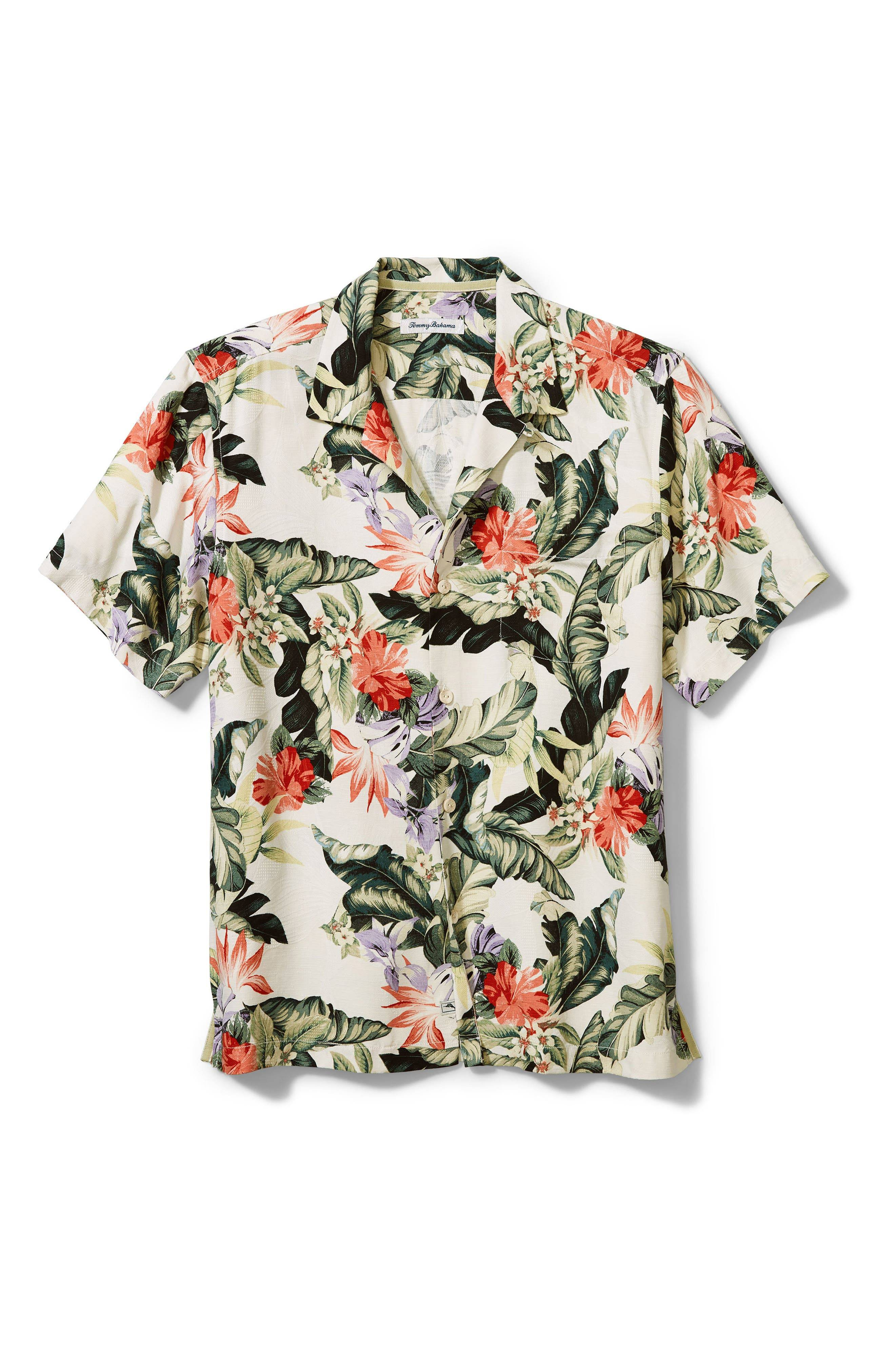 Tommy Bahama Men's Tommy Bahama Garden Of Hope & Courage Short Sleeve Silk Button-Up Shirt, Size X-Large - White