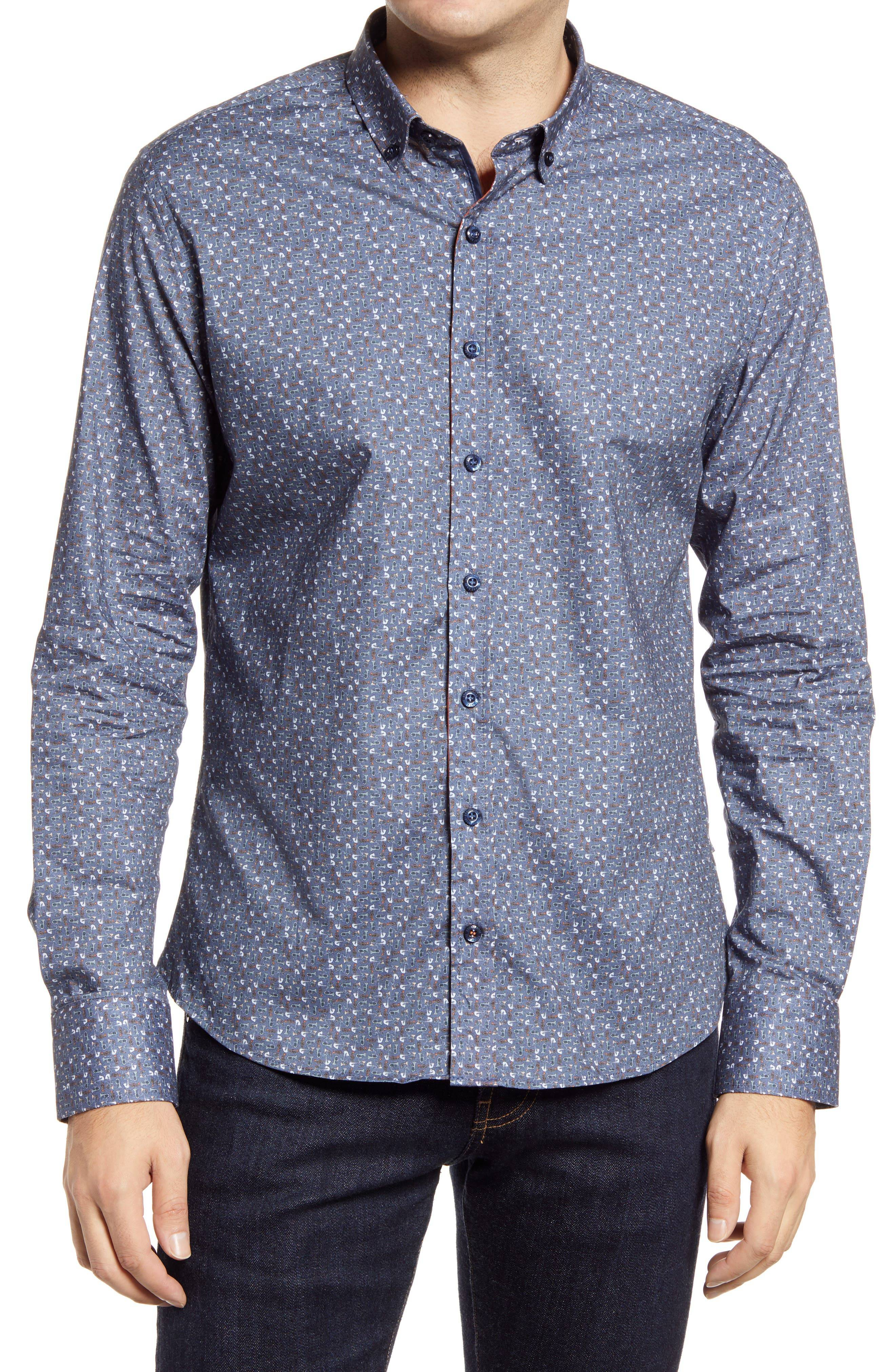 Stone Rose Men's Stone Rose Music Print Button-Down Shirt, Size 3 - Blue