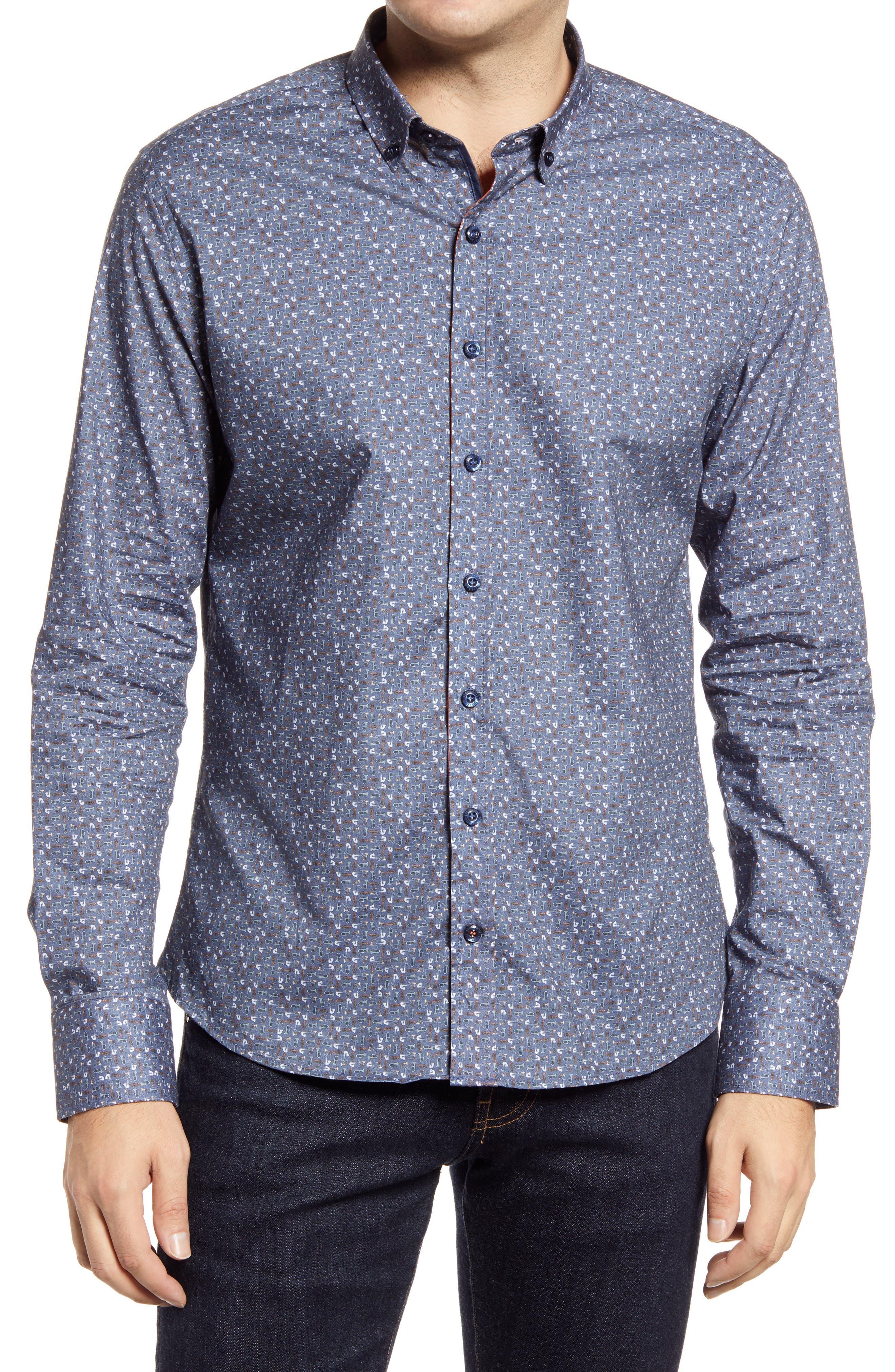 Stone Rose Men's Stone Rose Music Print Button-Down Shirt, Size 4 - Blue