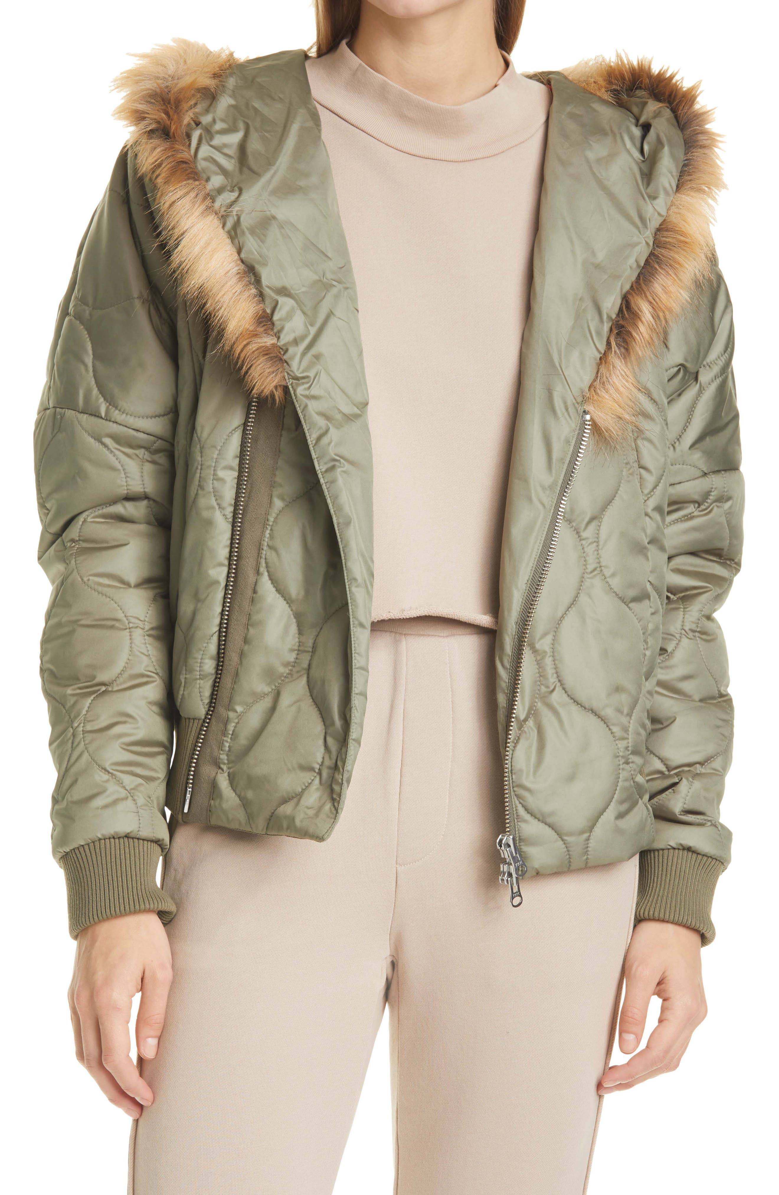 NSF Clothing Women's Nsf Clothing Goya Hooded Puffer Jacket With Faux Fur Trim, Size Petite - Green