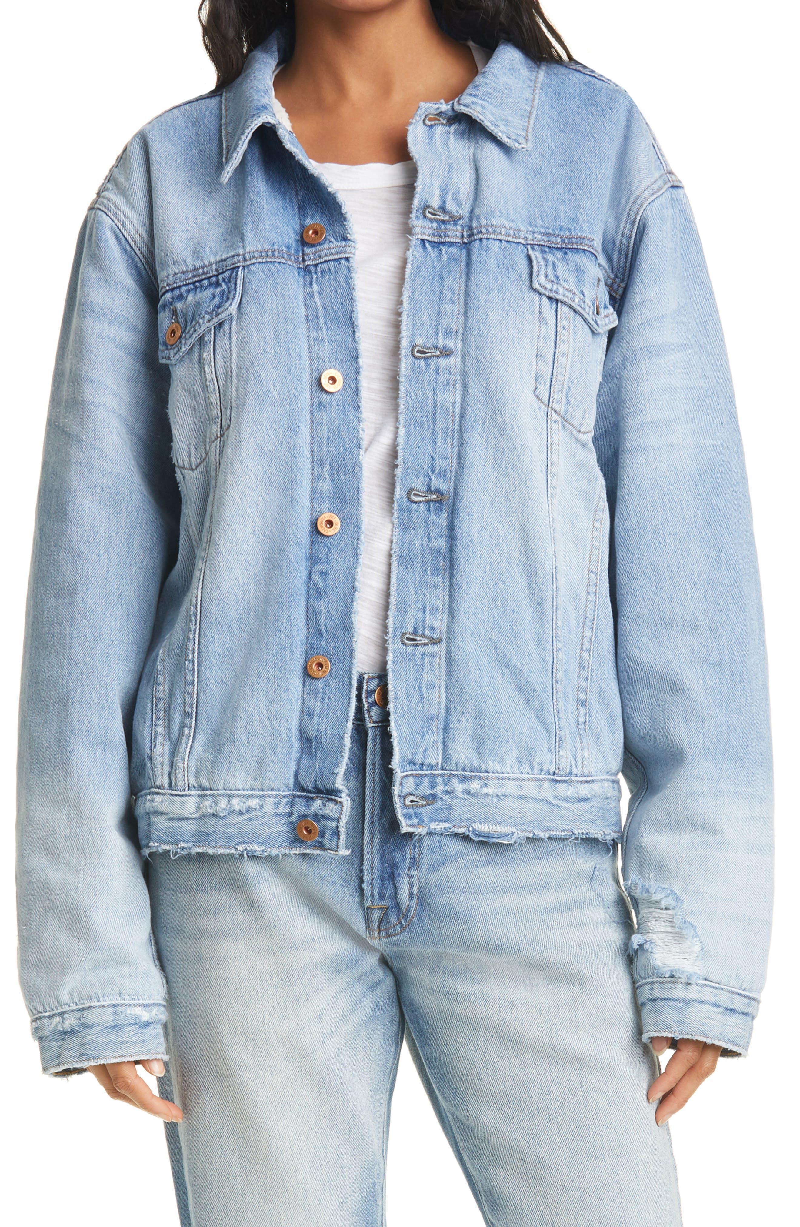NSF Clothing Women's Nsf Clothing Jesse Oversize Denim Jacket, Size Large - Blue