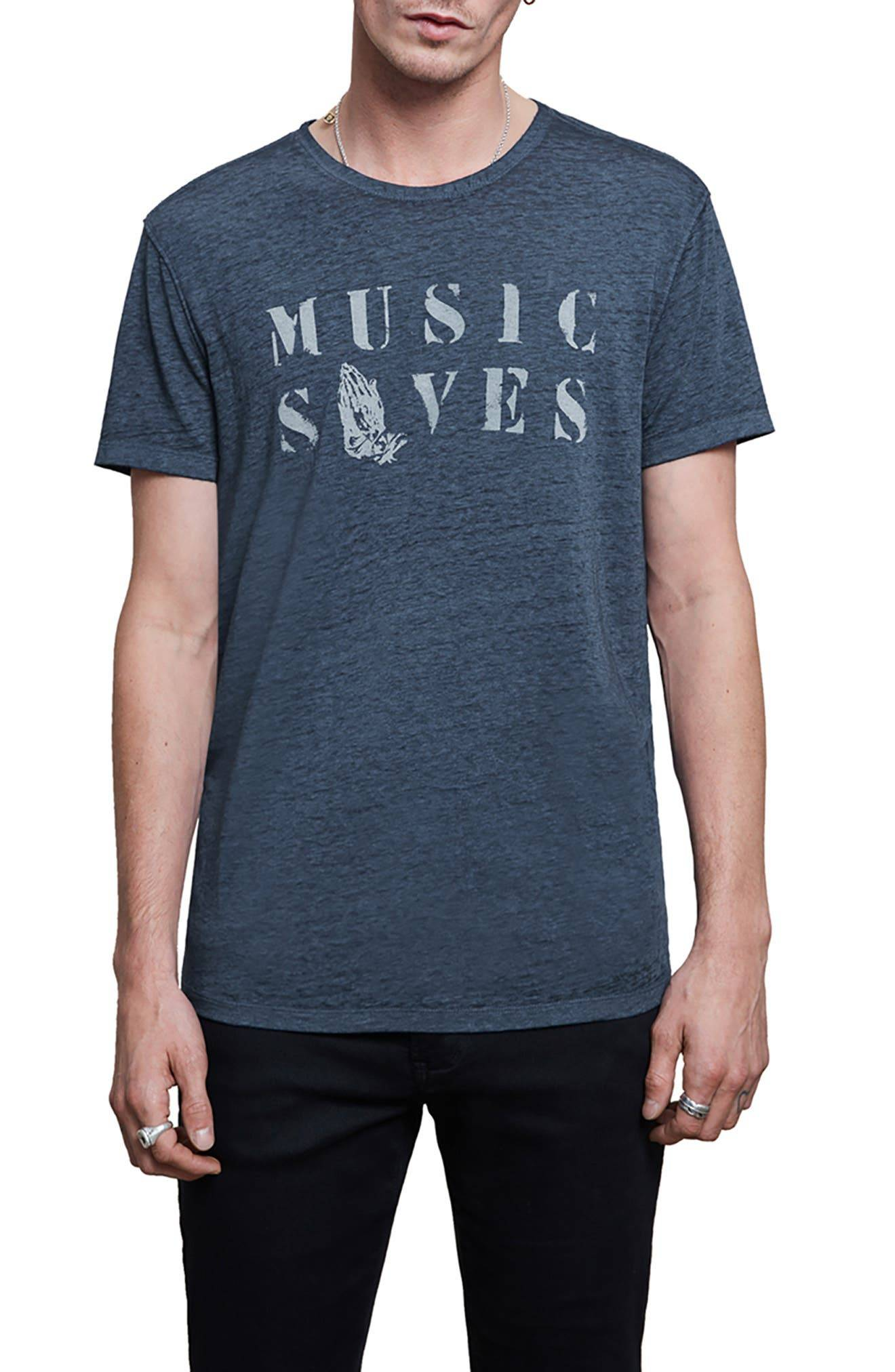 John Varvatos Men's John Varvatos Music Saves Graphic Tee, Size Medium - Blue