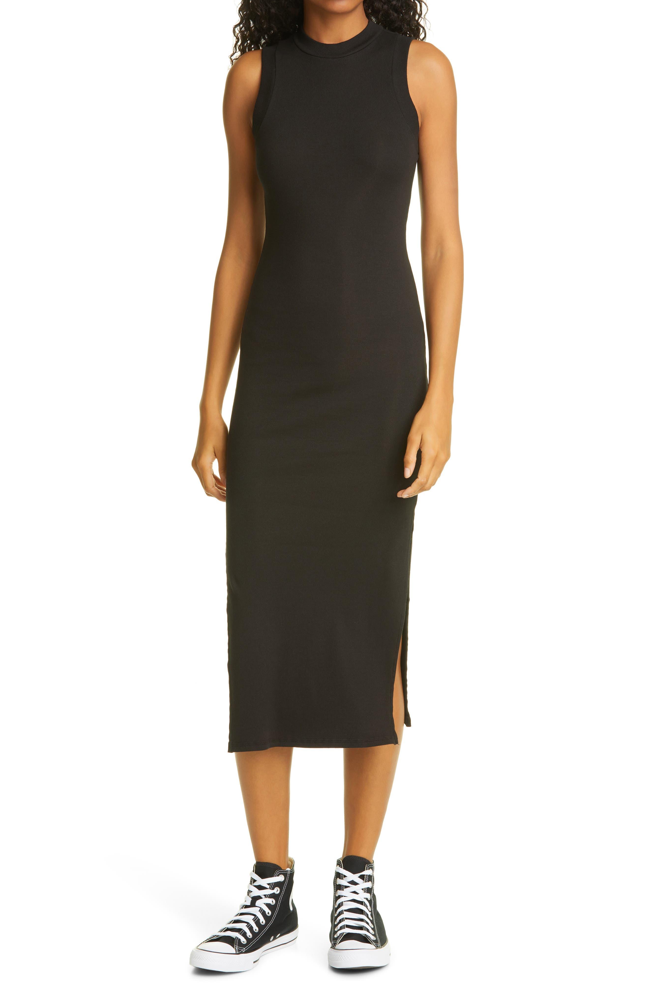 NSF Clothing Women's Nsf Clothing Sherry Sleeveless Stretch Cotton Midi Dress, Size Small - Black