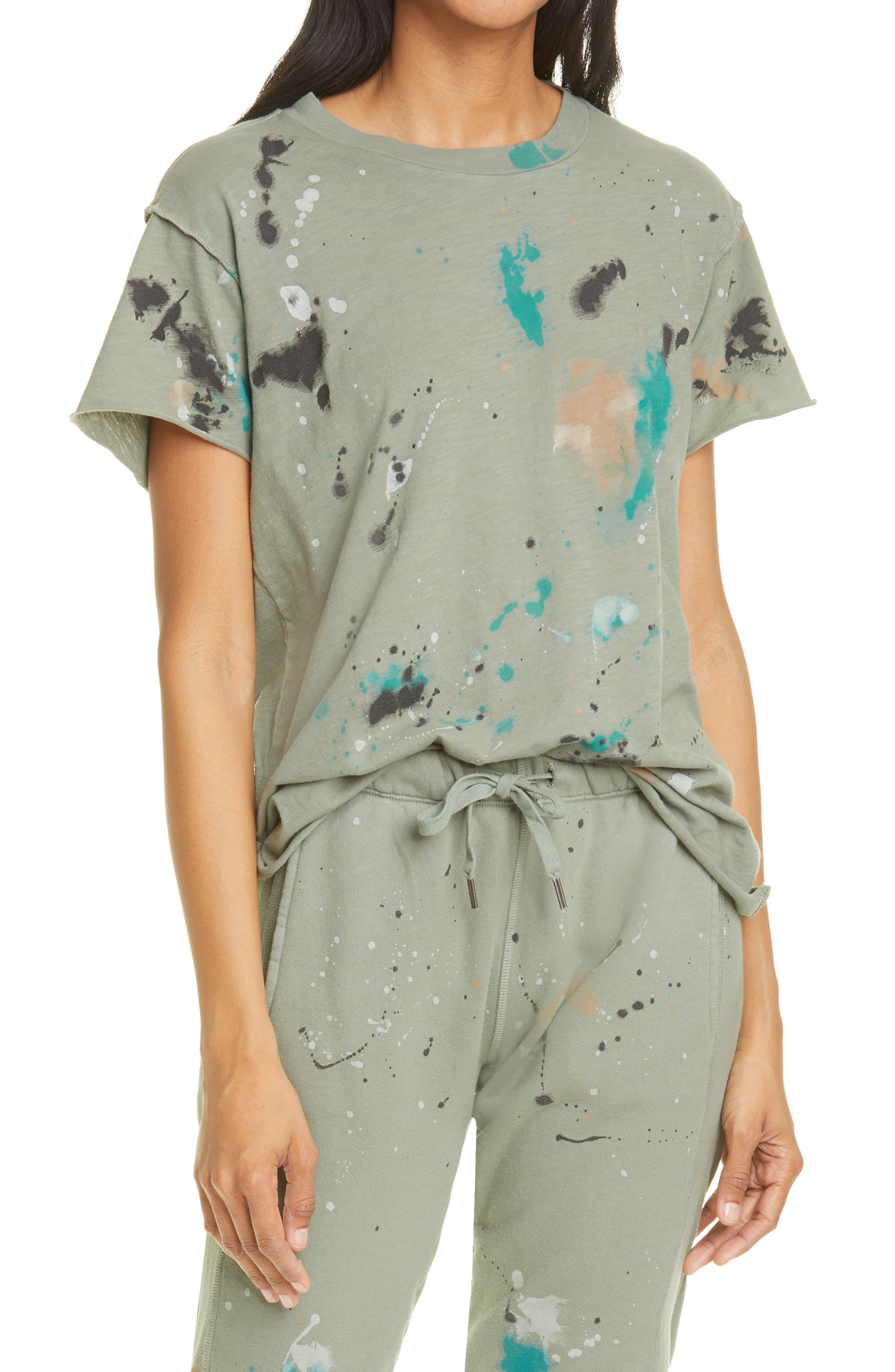 NSF Clothing Women's Nsf Clothing Moore Paint Splatter Boyfriend T-Shirt, Size Medium - Green