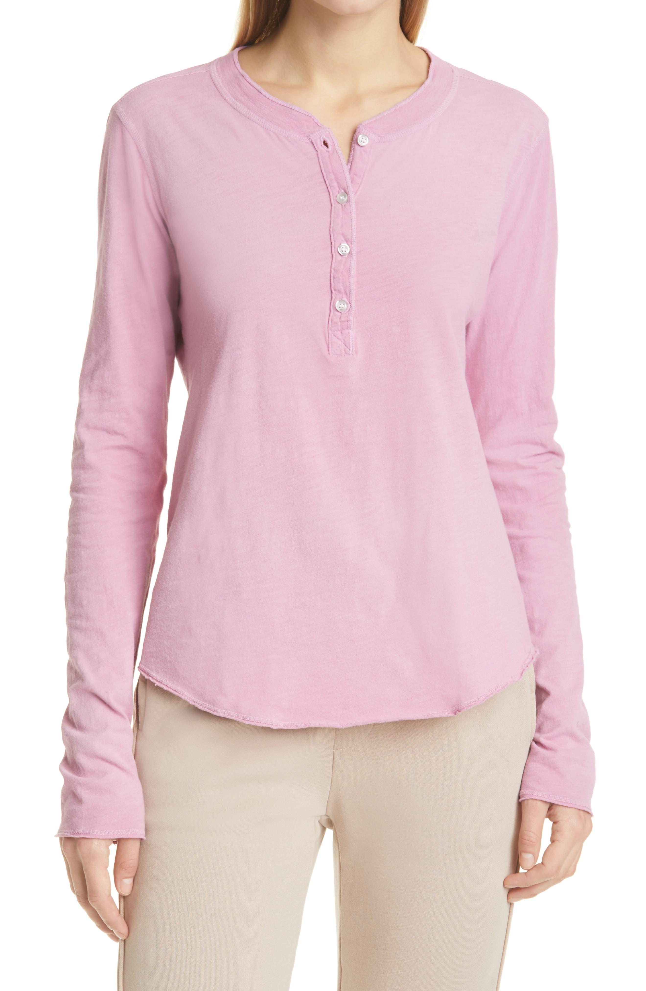 NSF Clothing Women's Nsf Clothing Hal Women's Henley Top, Size Petite - Pink