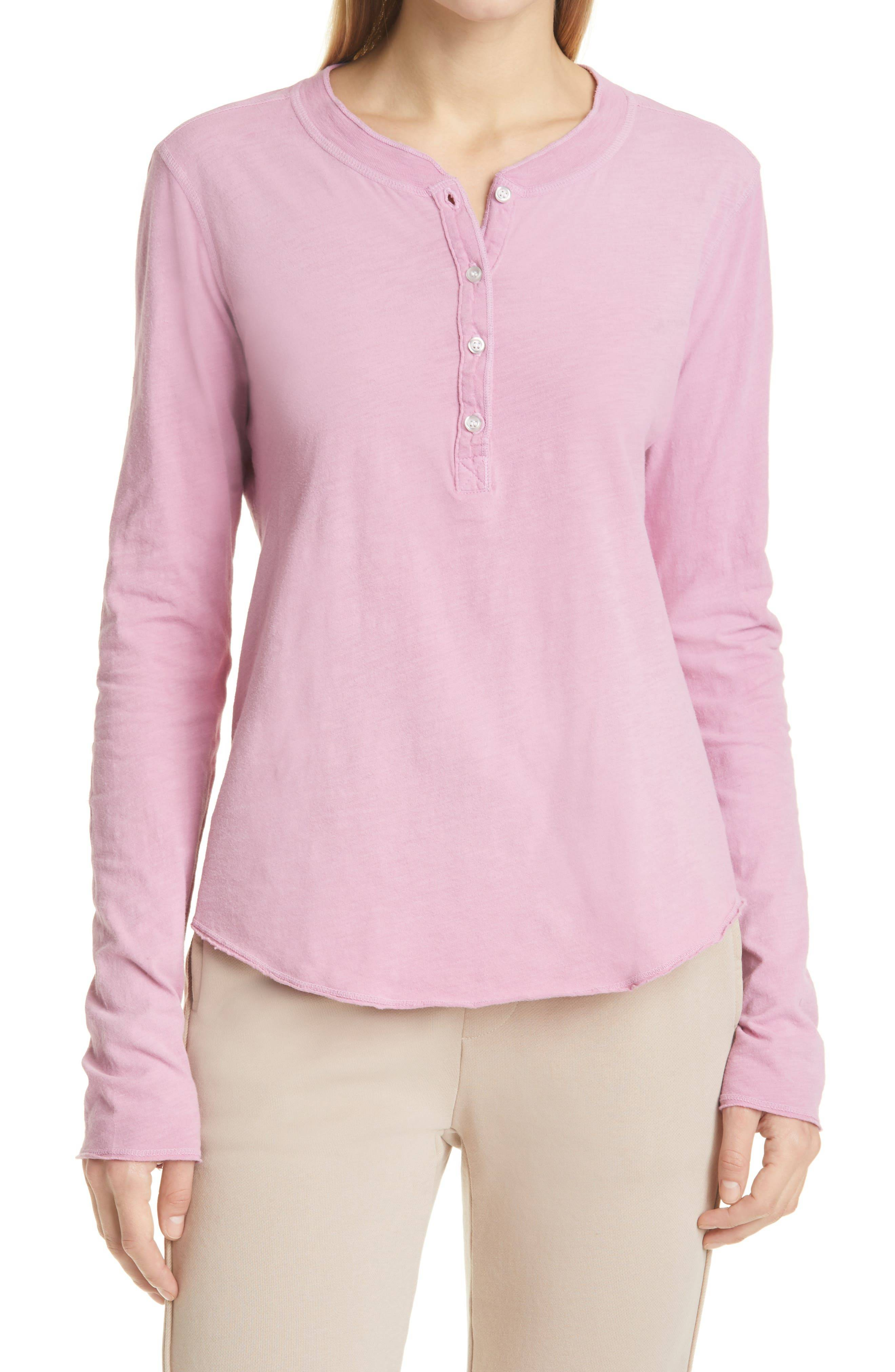 NSF Clothing Women's Nsf Clothing Hal Women's Henley Top, Size X-Large - Pink