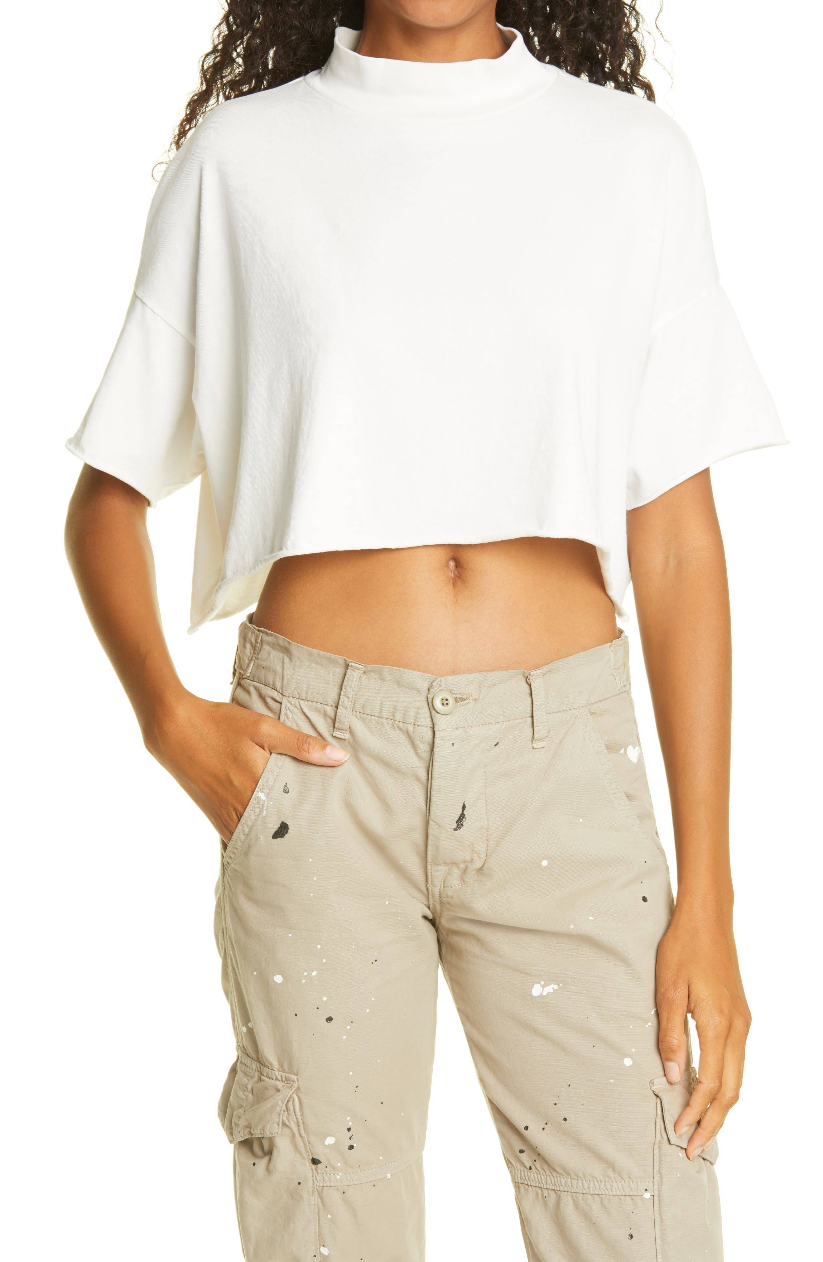 NSF Clothing Women's Nsf Clothing Cindy Mock Neck Crop Top, Size Petite - White