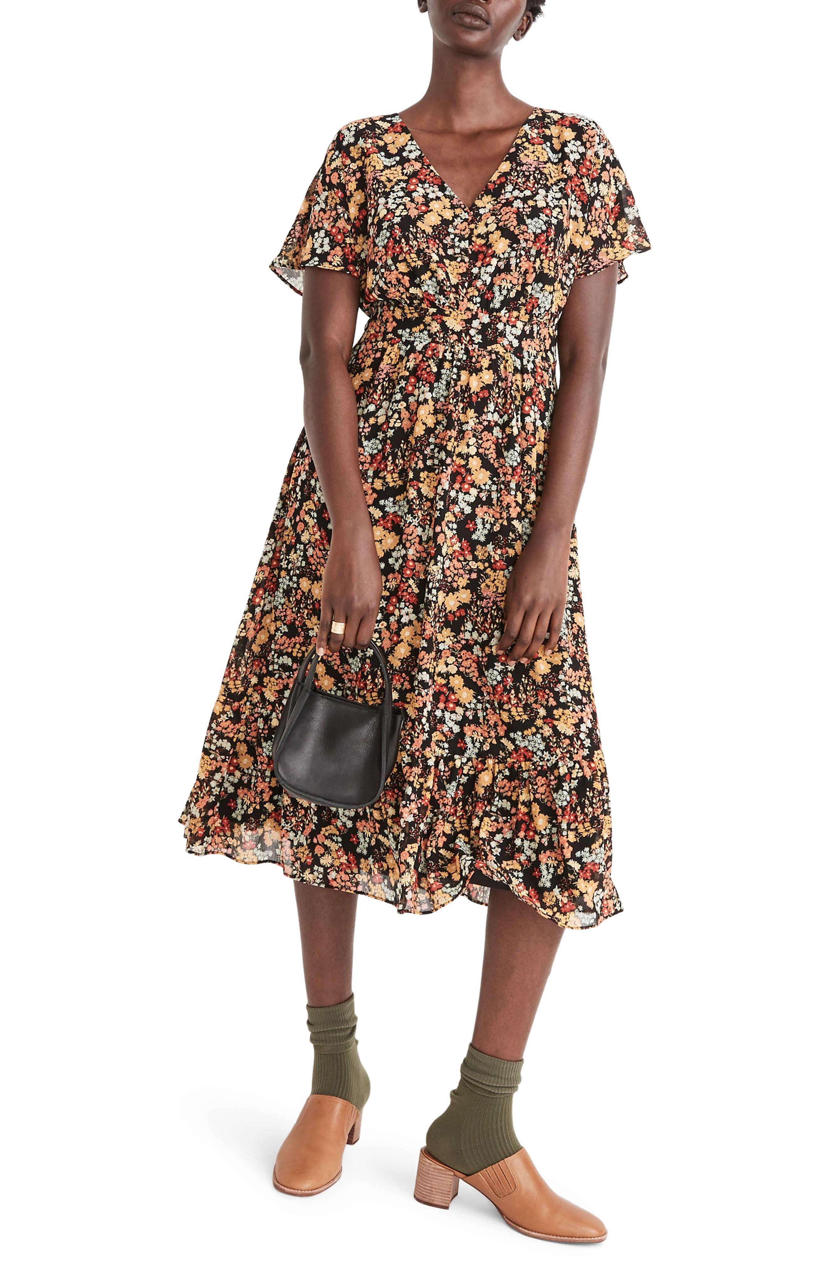 Madewell Women's Madewell Flower Garden Dolman Sleeve Ruffle Hem Midi Dress, Size 10 - Black