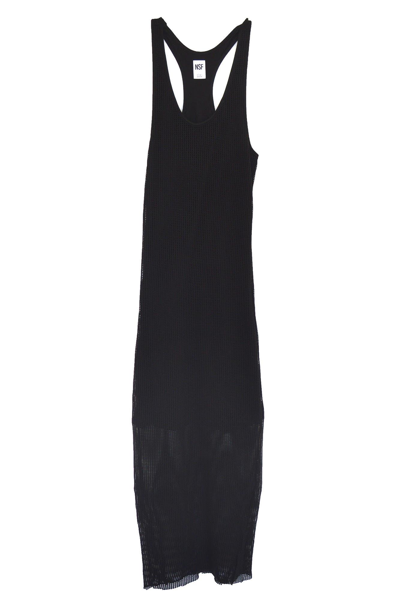 NSF Clothing Women's Nsf Clothing Amelia Mesh Layer Tank Dress, Size Large - Black