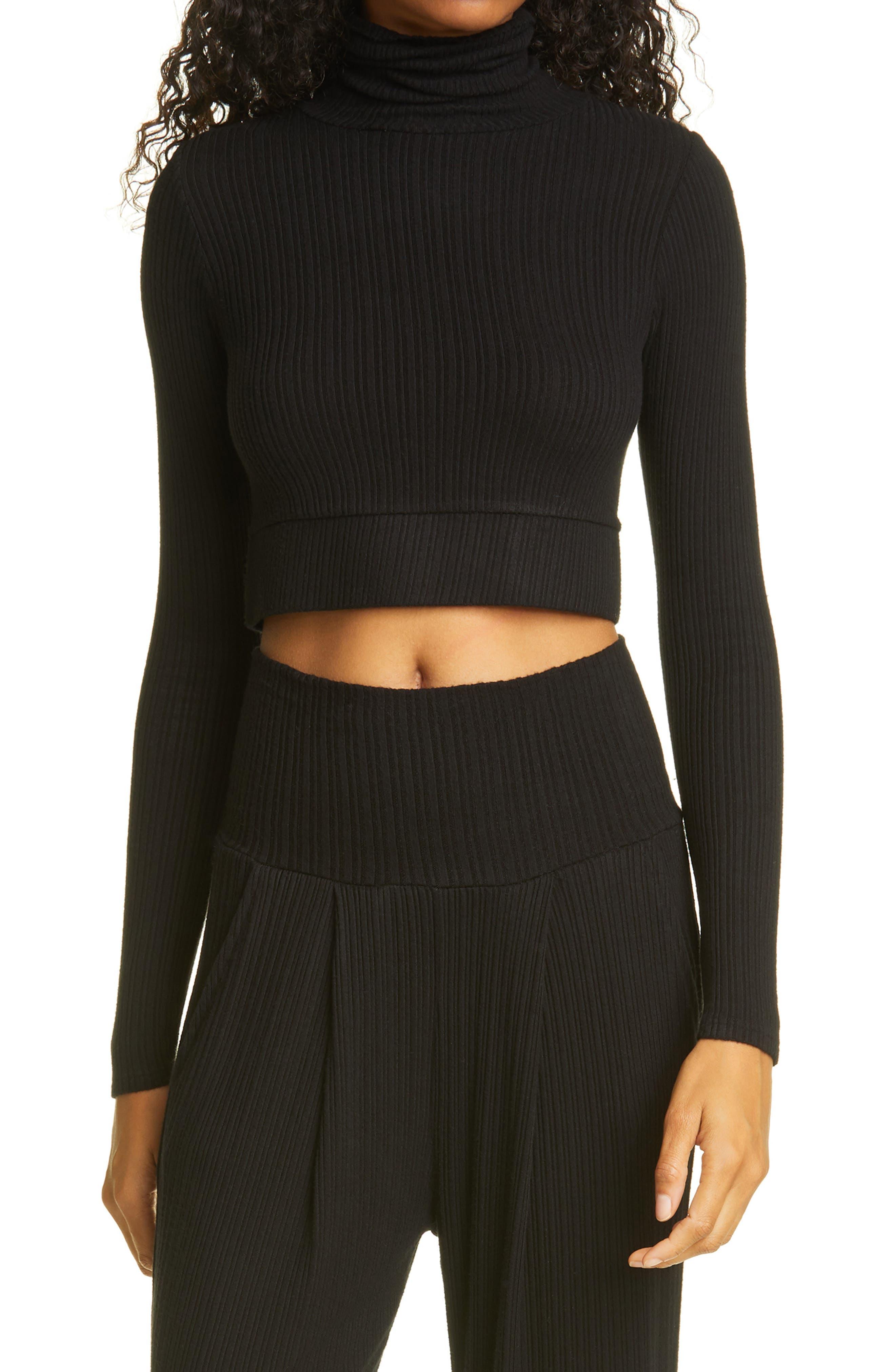 NSF Clothing Women's Nsf Clothing Bridget Crop Turtleneck Top, Size Small - Black